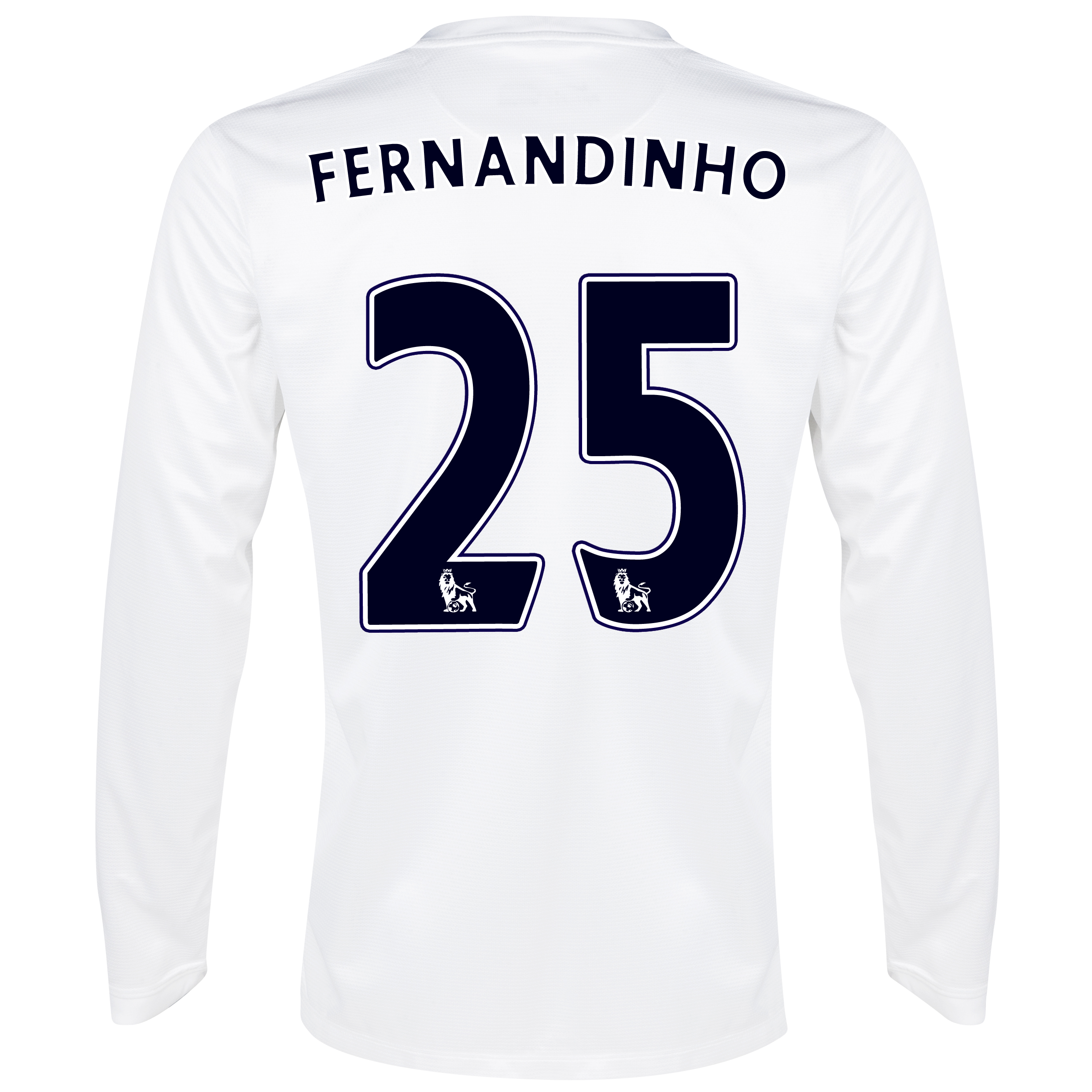 Manchester City Cup Away Shirt 2013/14 - Long Sleeved White with Fernandinho 25 printing