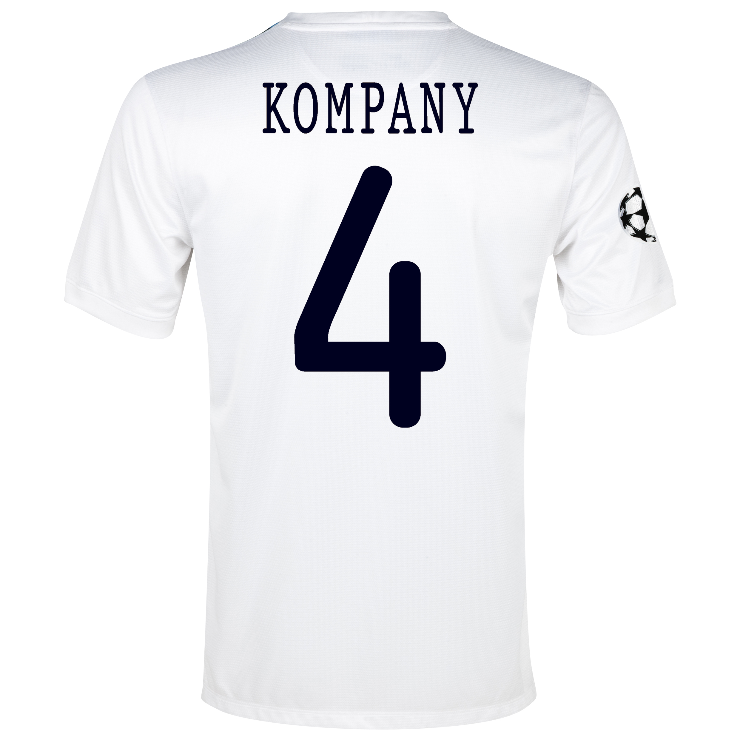 Manchester City UEFA Champions League Cup Away Shirt 2013/14 White with Kompany 4 printing