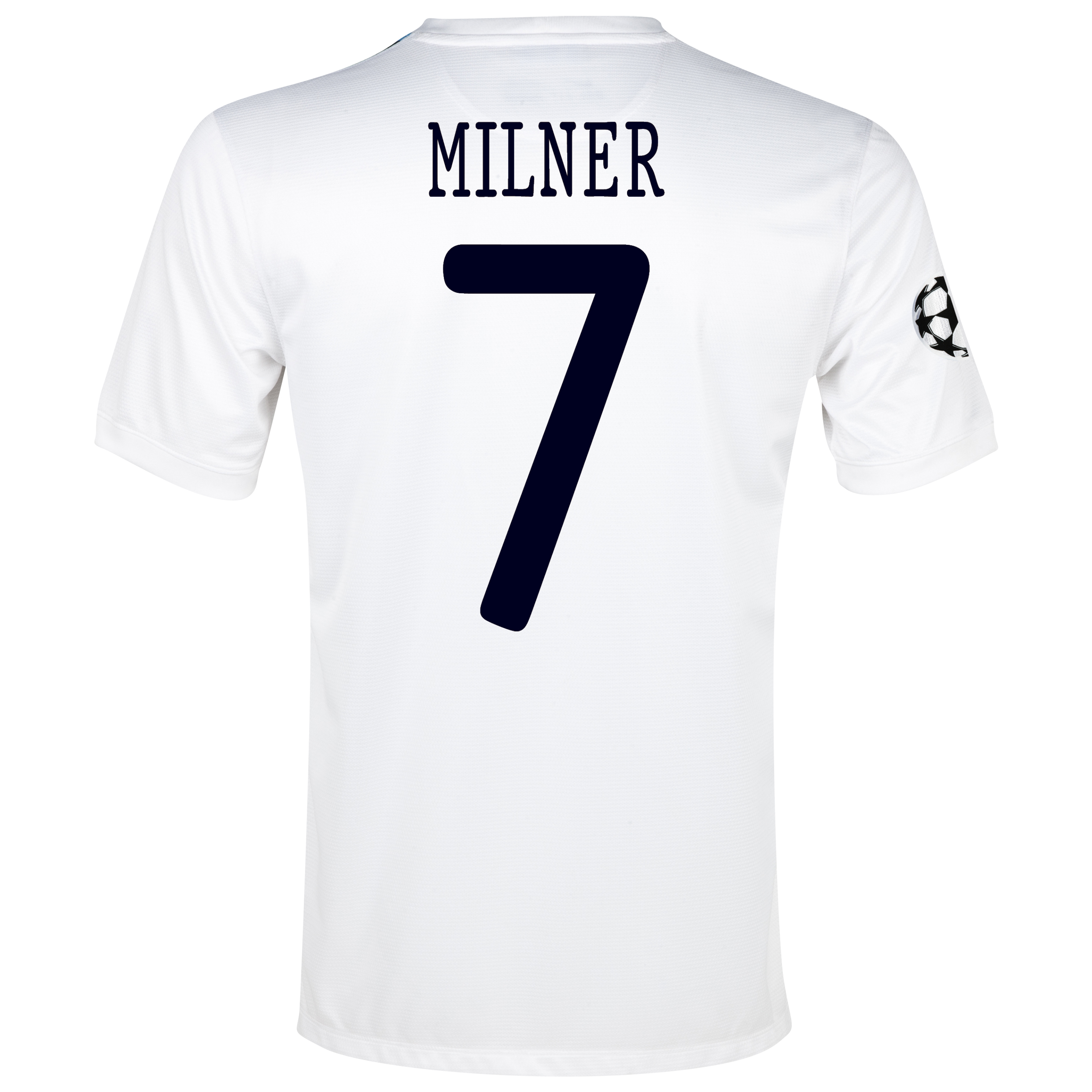 Manchester City UEFA Champions League Cup Away Shirt 2013/14 White with Milner 7 printing