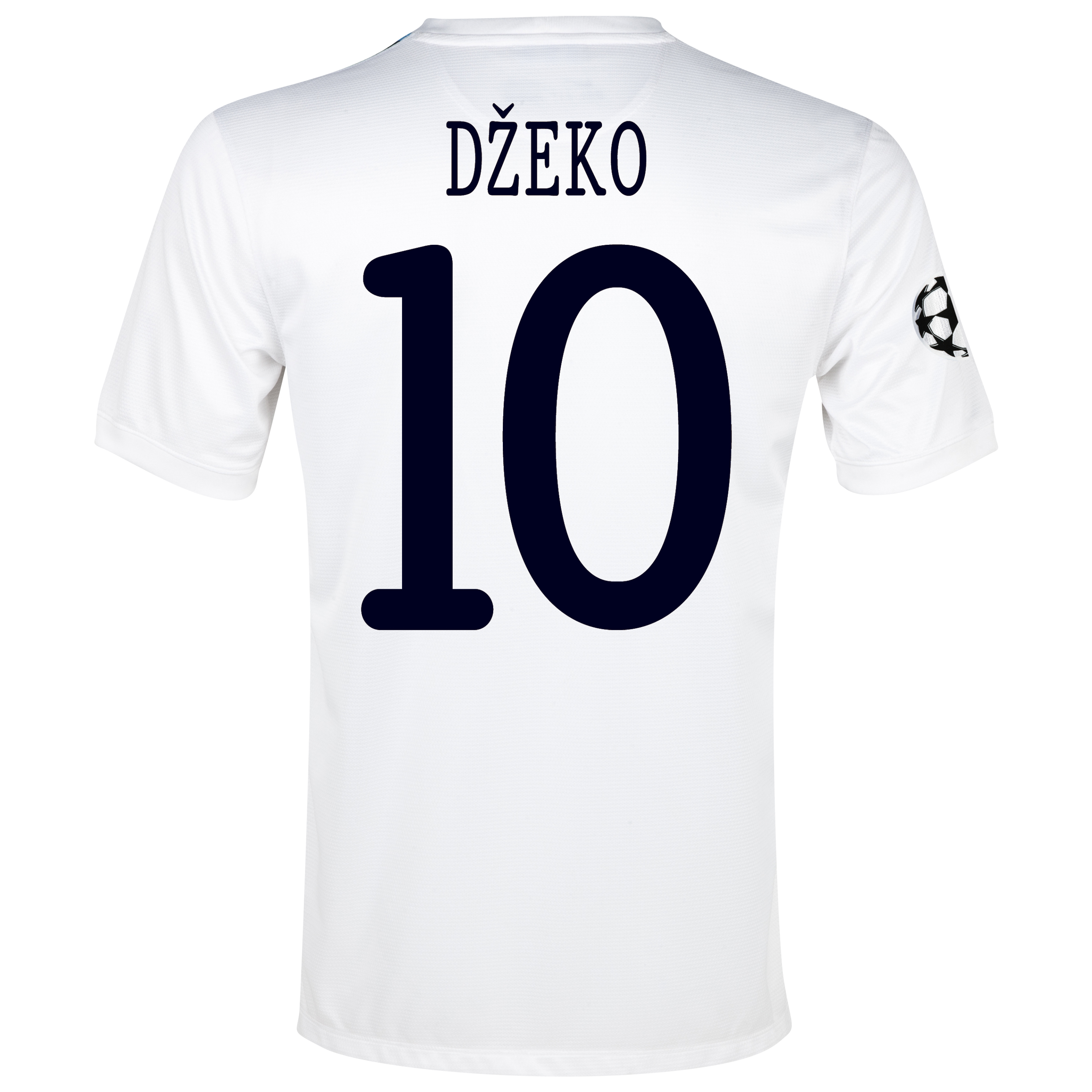 Manchester City UEFA Champions League Cup Away Shirt 2013/14 White with Dzeko 10 printing