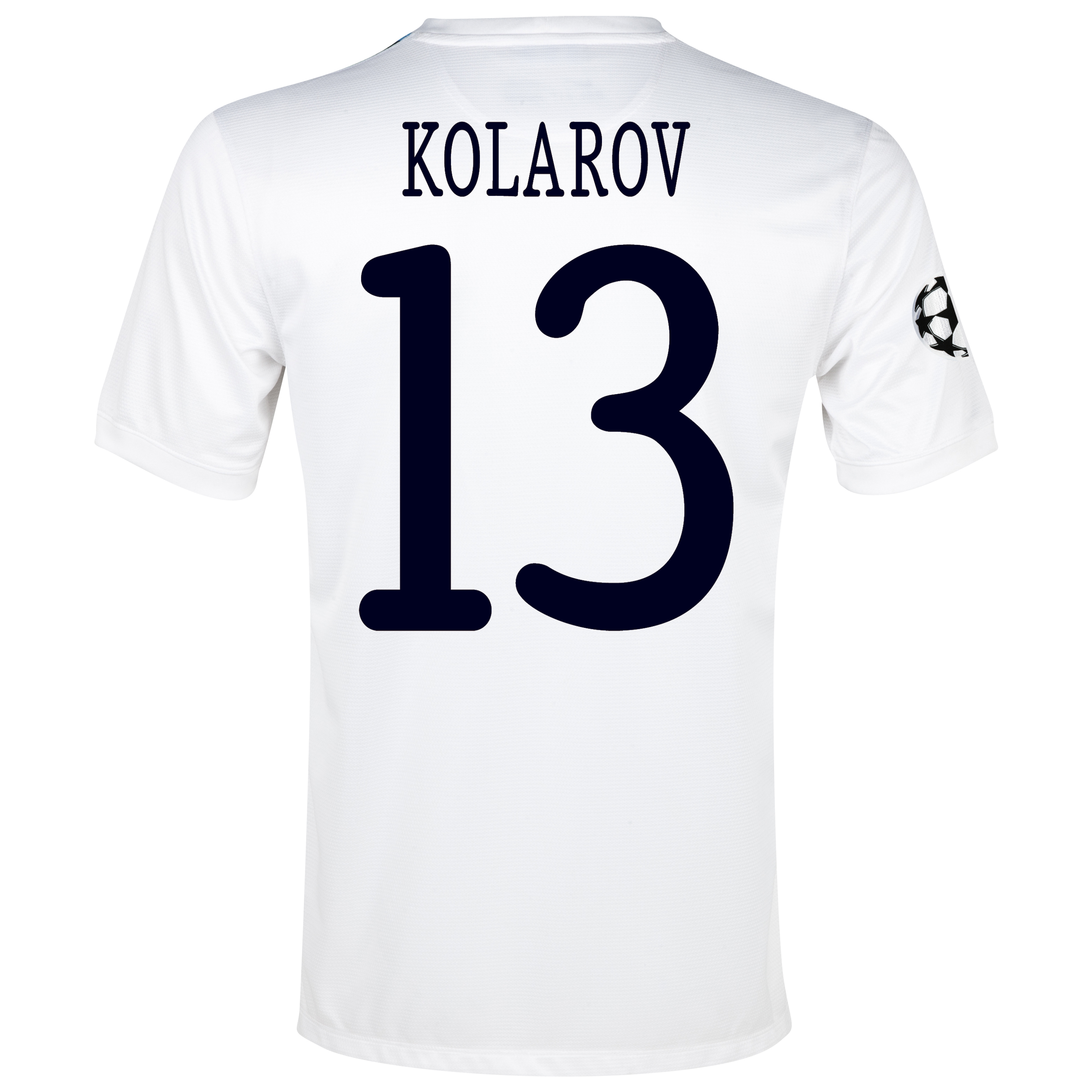 Manchester City UEFA Champions League Cup Away Shirt 2013/14 White with Kolarov 13 printing