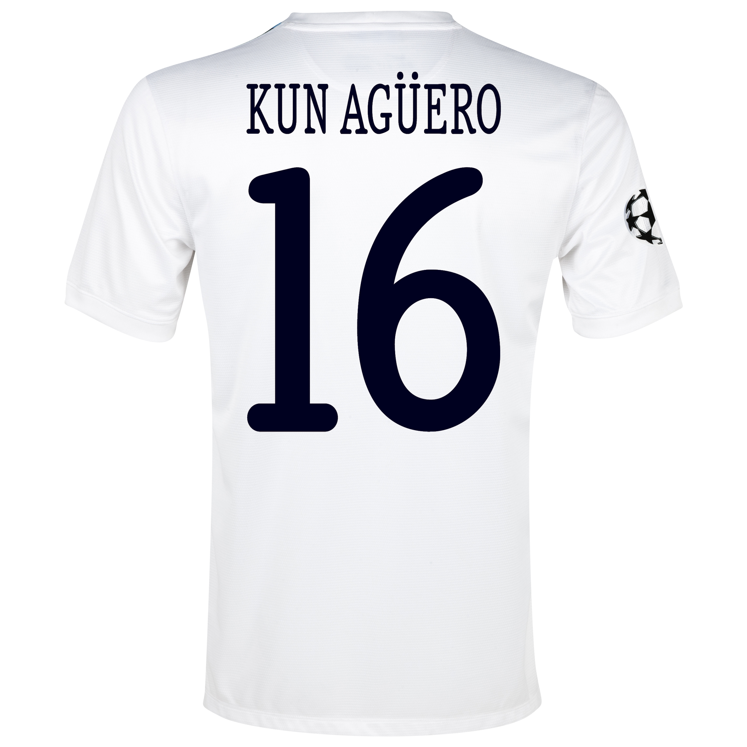 Manchester City UEFA Champions League Cup Away Shirt 2013/14 White with Kun Agüero  16 printing