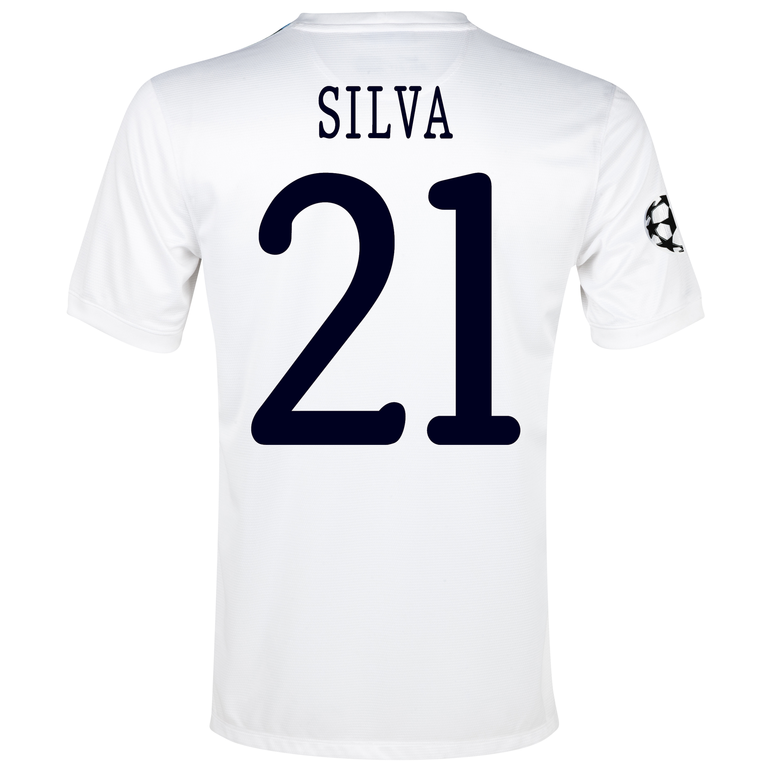 Manchester City UEFA Champions League Cup Away Shirt 2013/14 White with Silva 21 printing