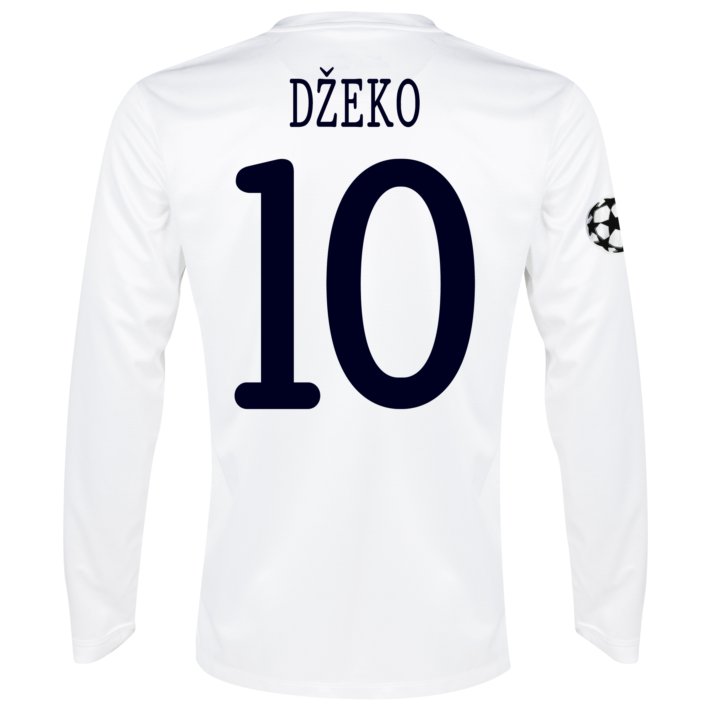 Manchester City UEFA Champions League Cup Away Shirt 2013/14 - Long Sleeved White with Dzeko 10 printing