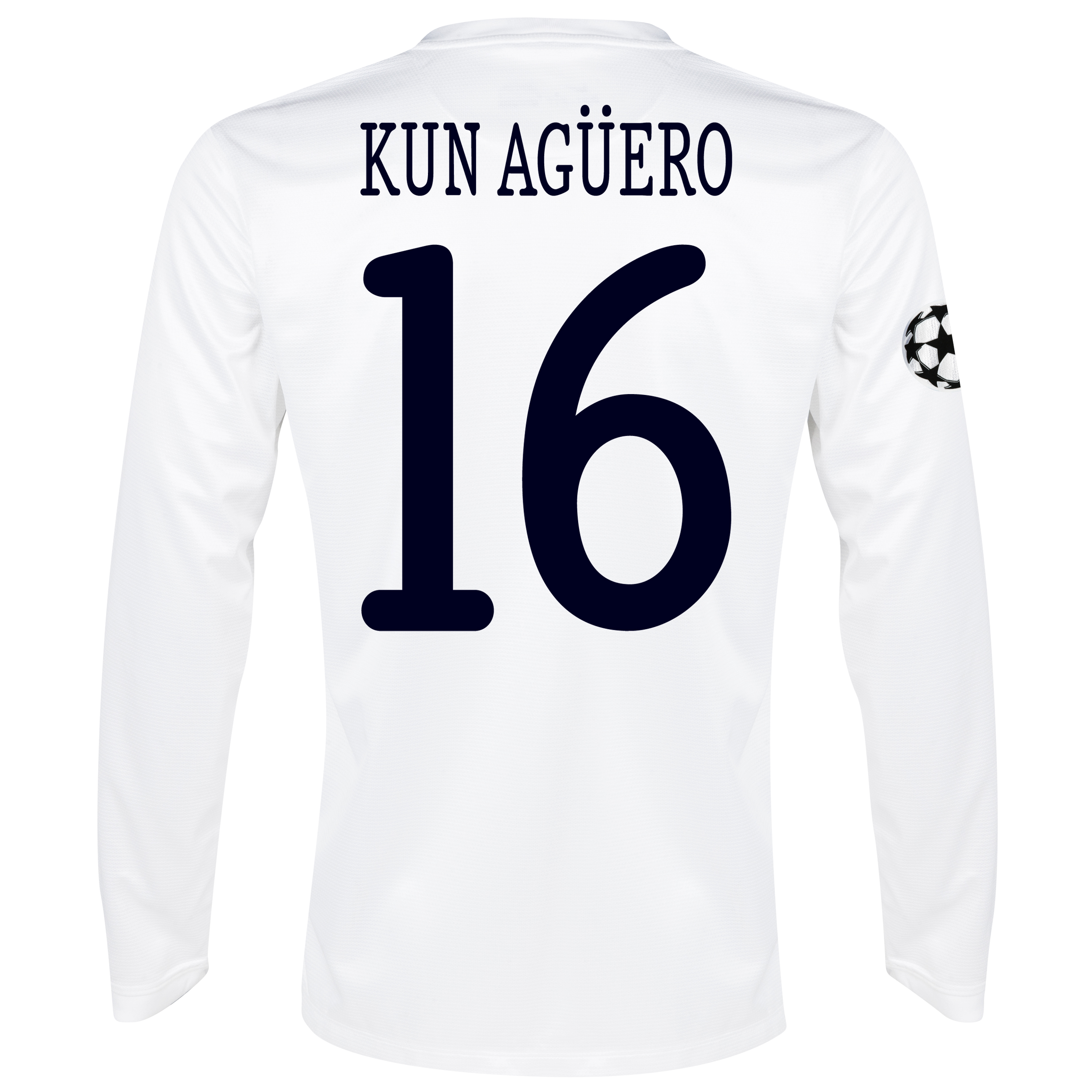 Manchester City UEFA Champions League Cup Away Shirt 2013/14 - Long Sleeved White with Kun Agüero  16 printing