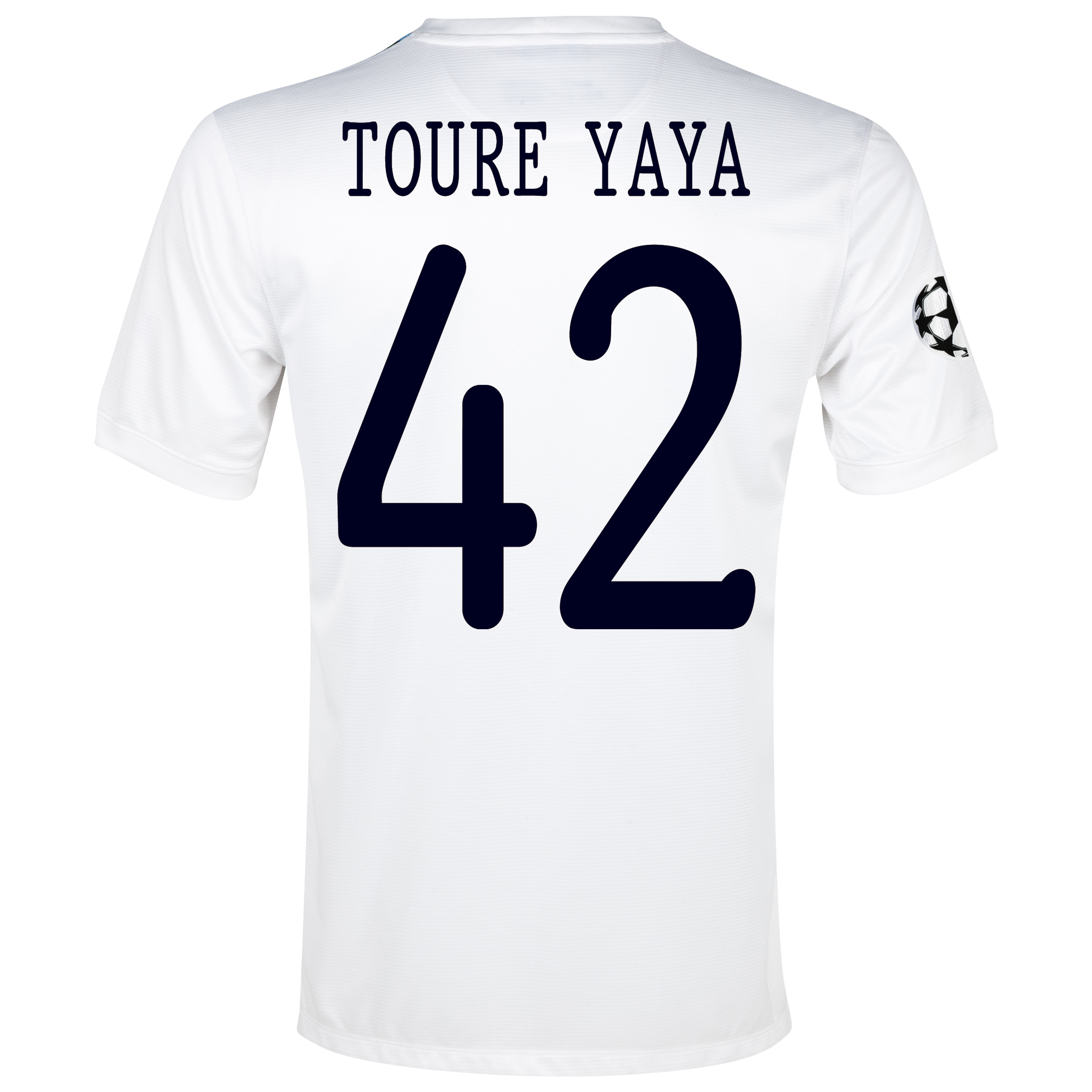 Manchester City UEFA Champions League Cup Away Shirt 2013/14  - Junior White with Toure Yaya 42 printing