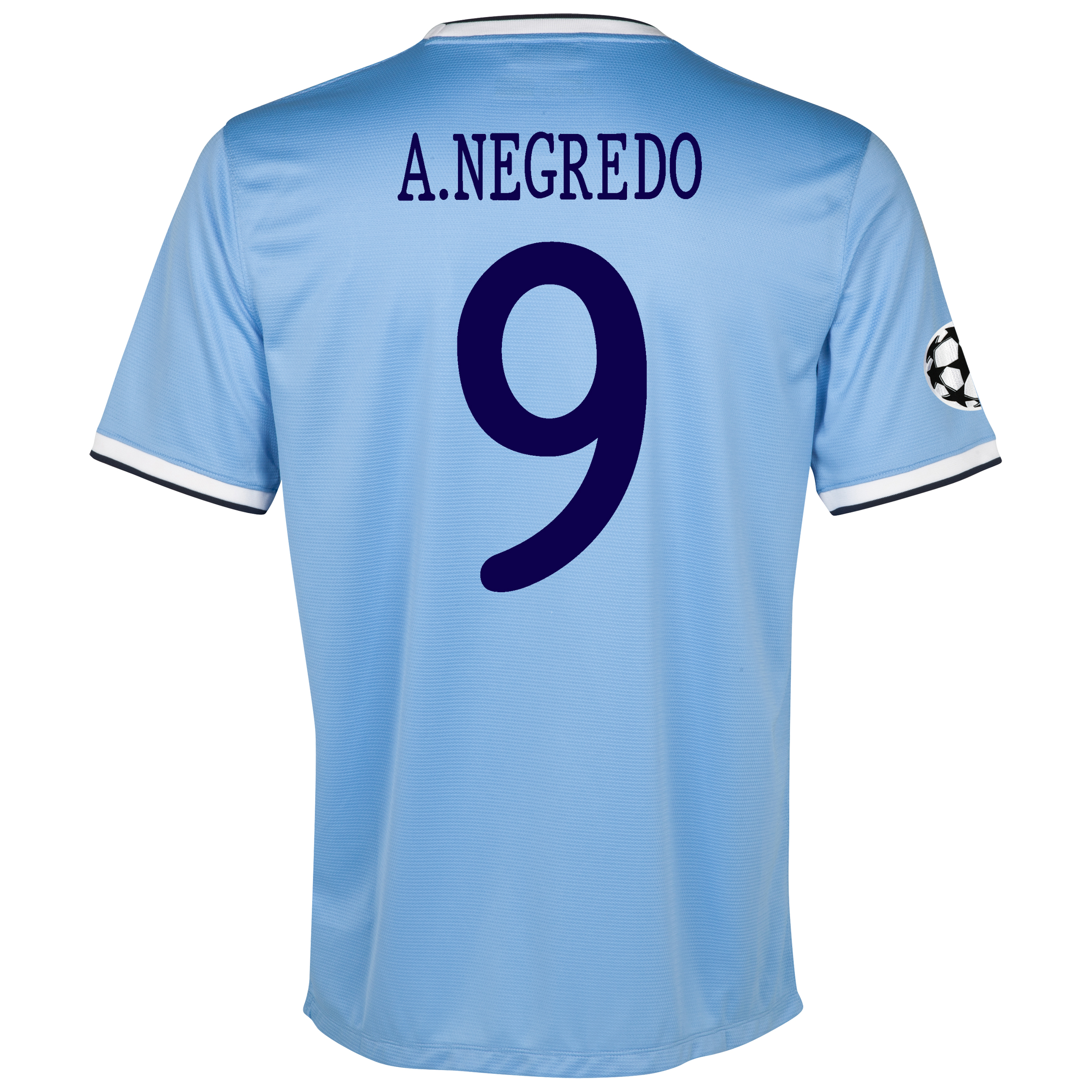 Manchester City UEFA Champions League Home Shirt 2013/14 with A.Negredo 9 printing