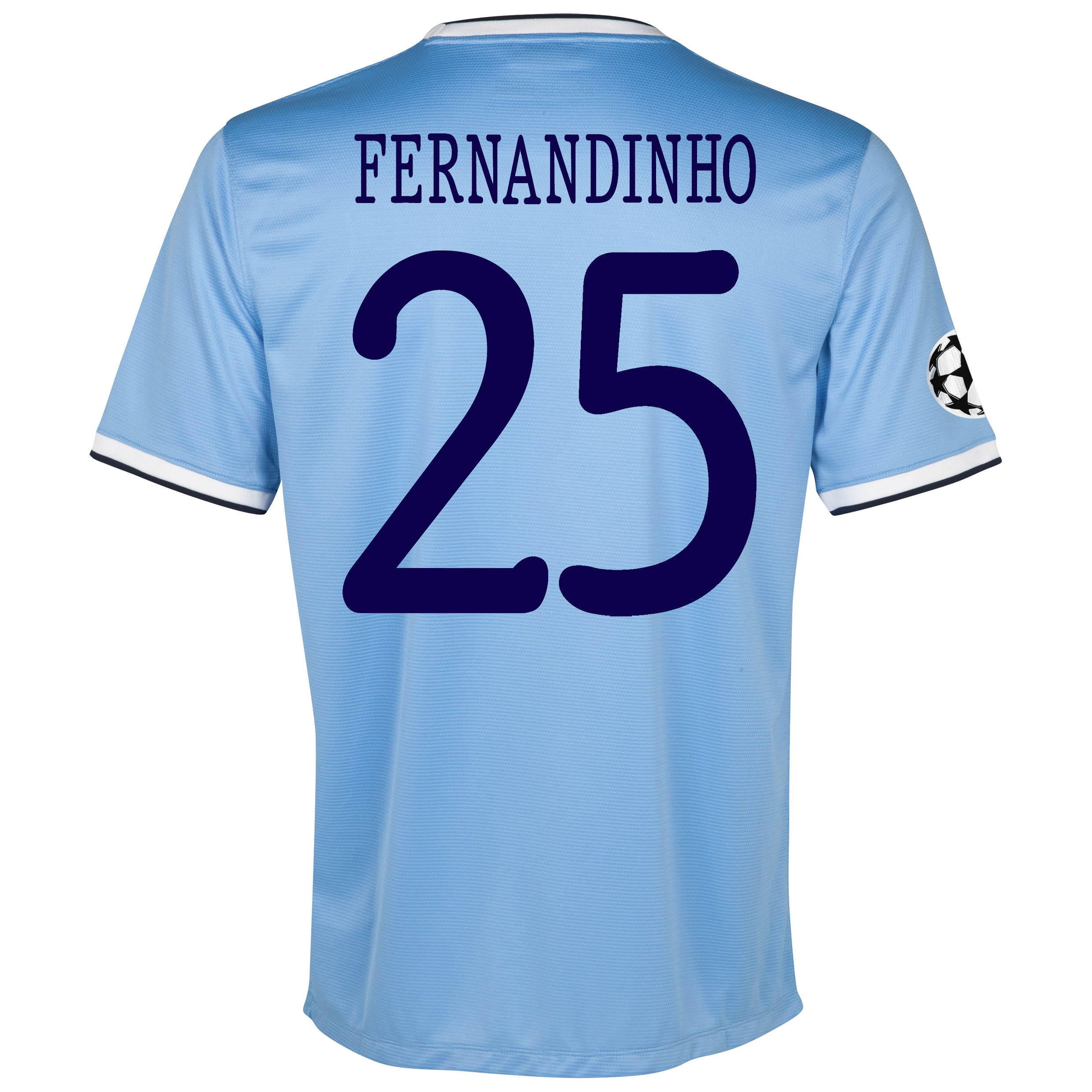 Manchester City UEFA Champions League Home Shirt 2013/14 with Fernandinho 25 printing