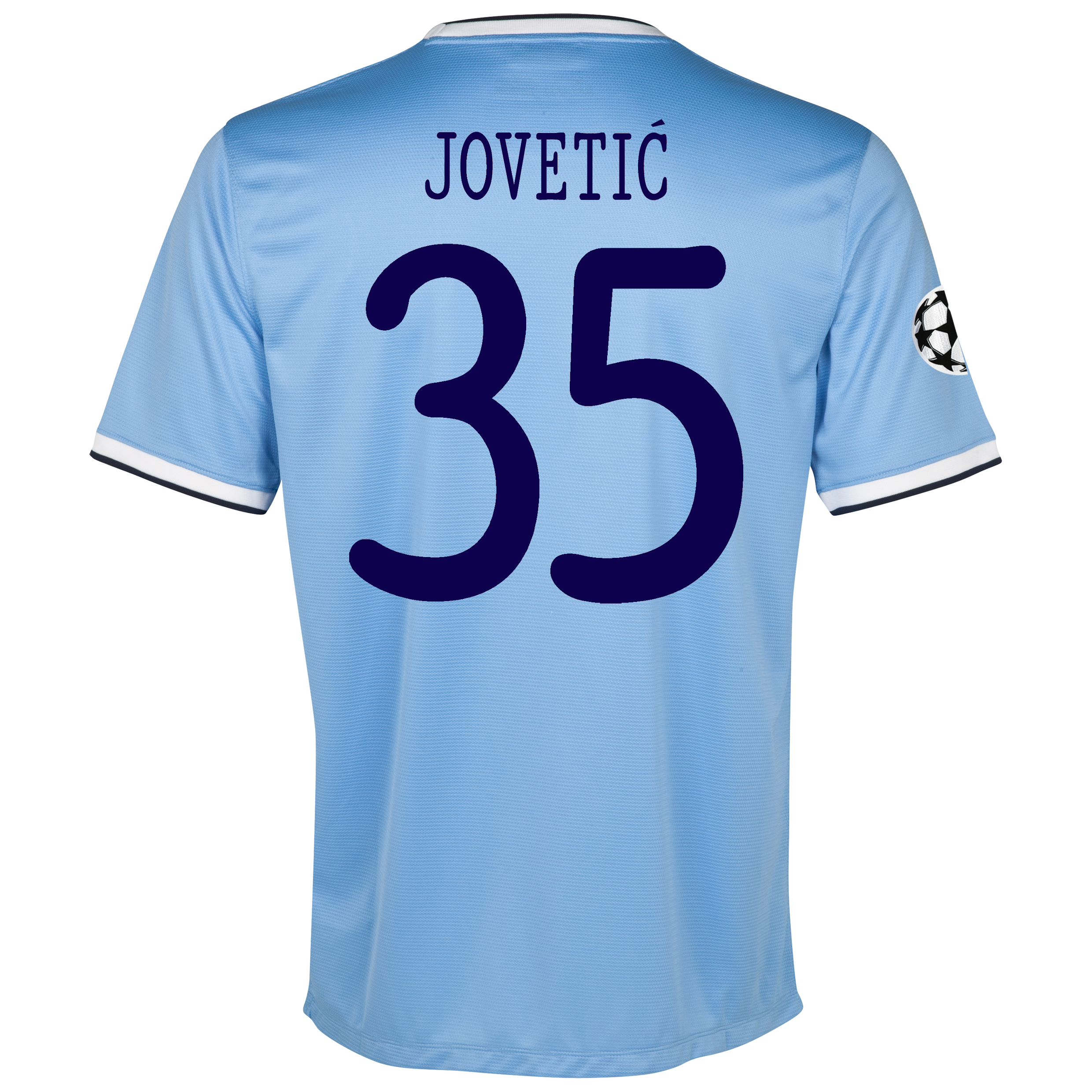 Manchester City UEFA Champions League Home Shirt 2013/14 with Jovetic 35 printing