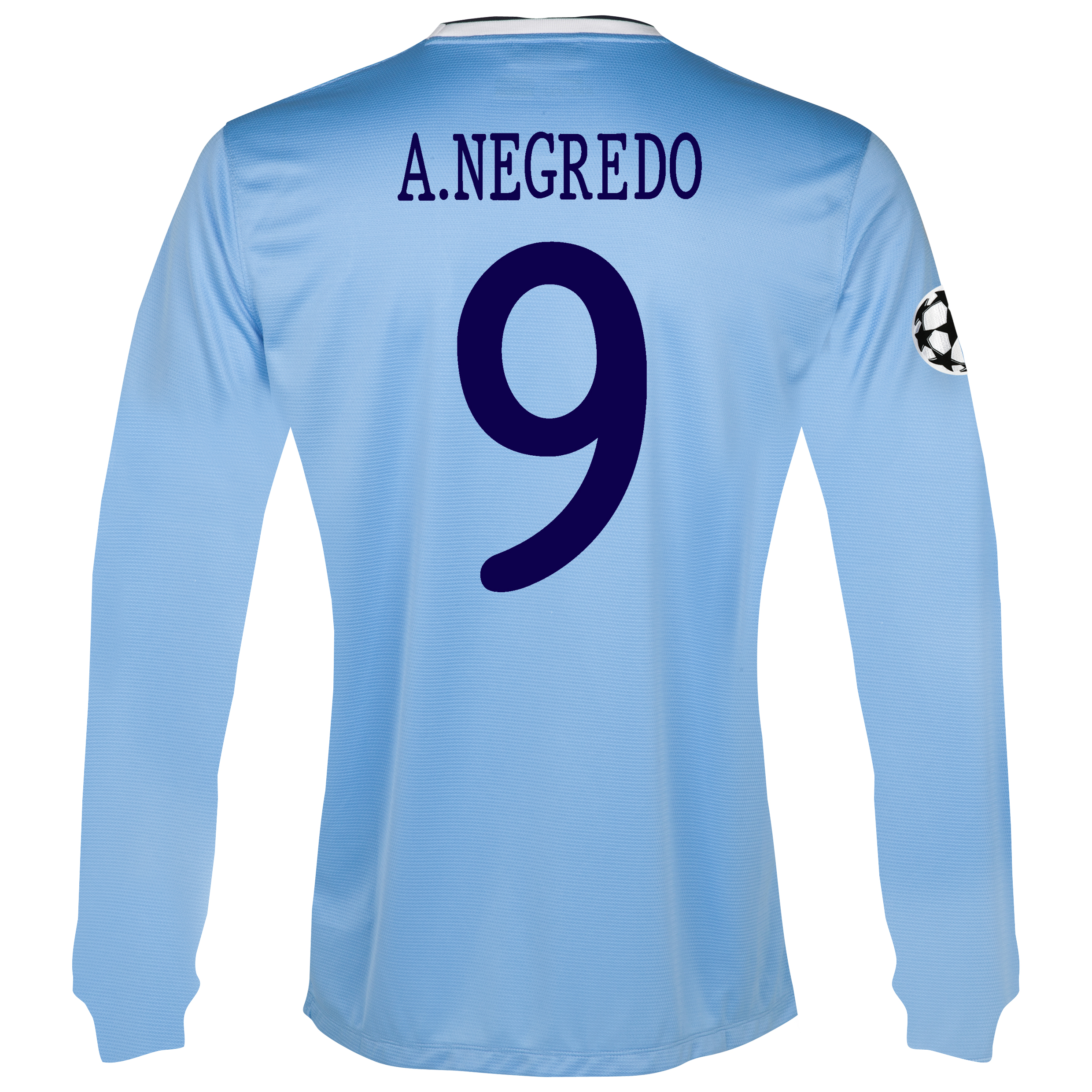 Manchester City UEFA Champions League Home Shirt 2013/14 - Long Sleeved with A.Negredo 9 printing