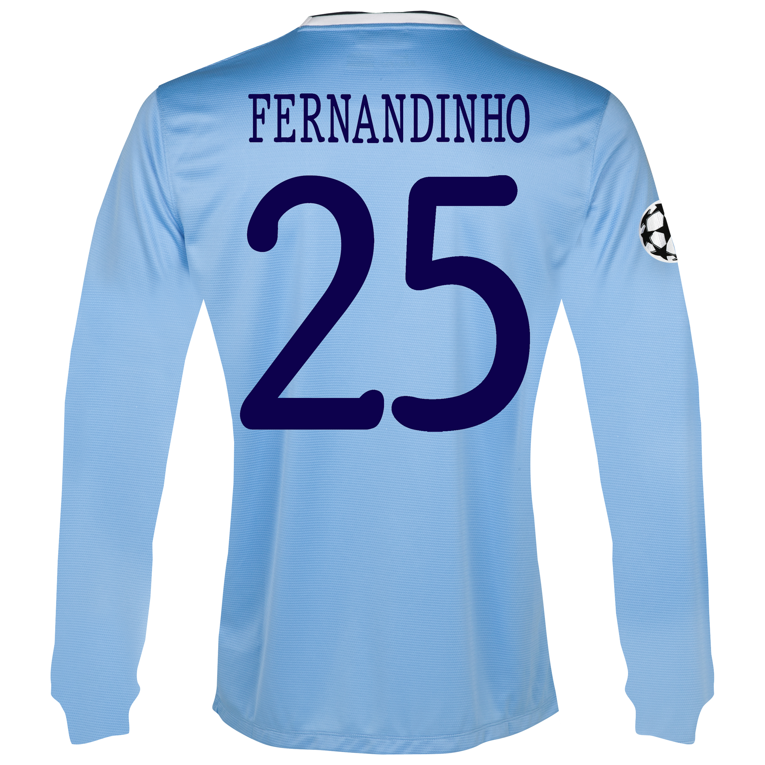 Manchester City UEFA Champions League Home Shirt 2013/14 - Long Sleeved with Fernandinho 25 printing