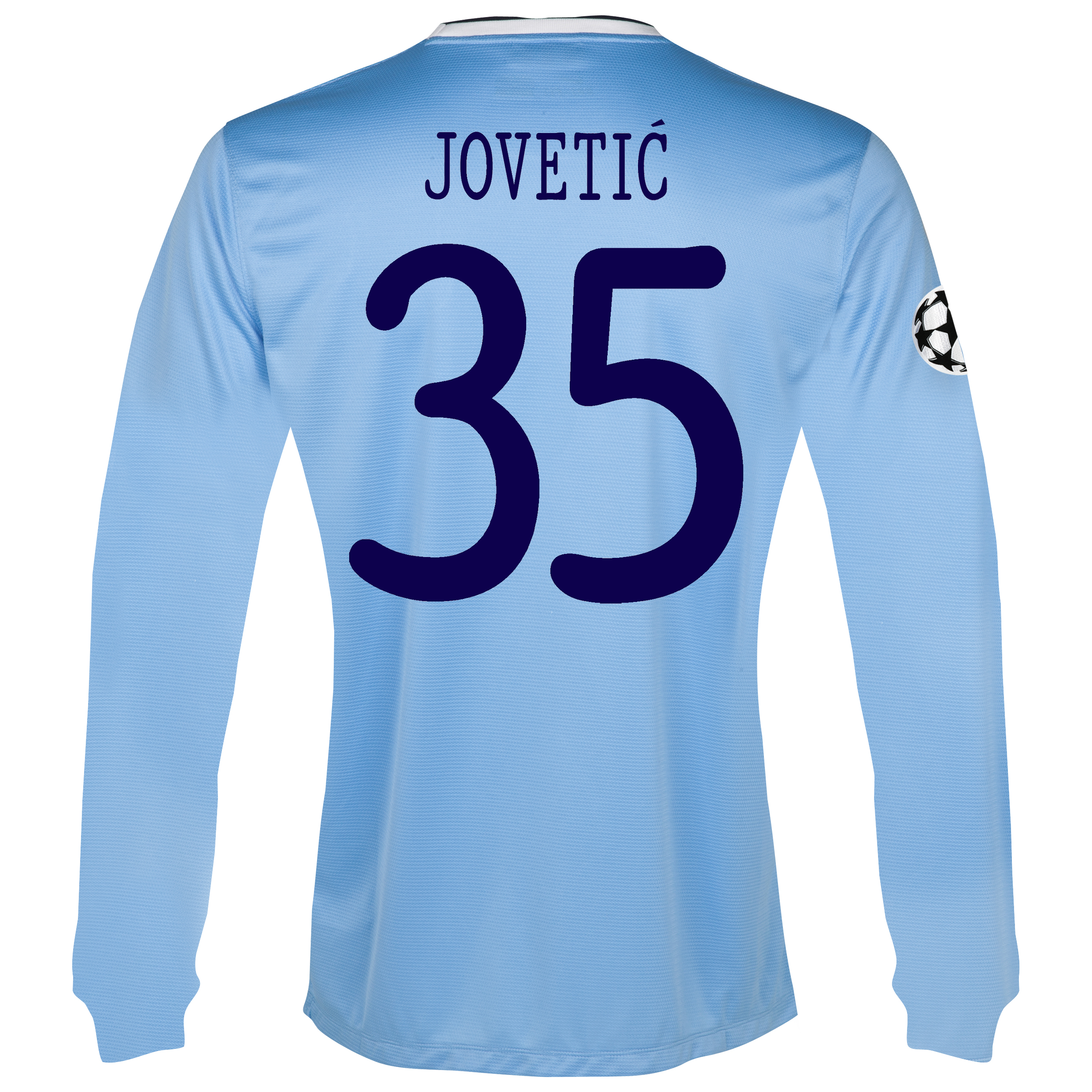 Manchester City UEFA Champions League Home Shirt 2013/14 - Long Sleeved with Jovetic 35 printing