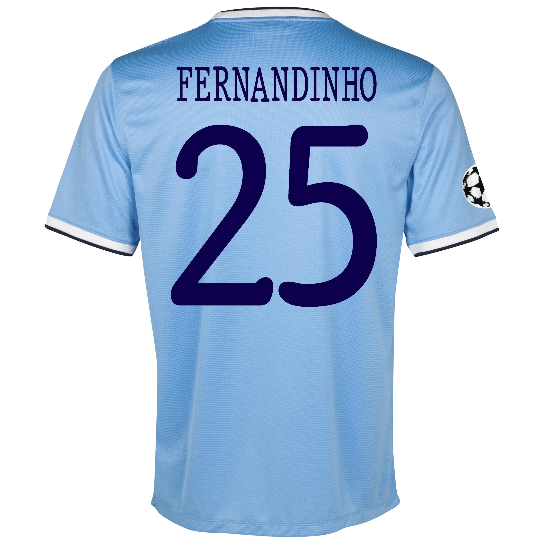 Manchester City UEFA Champions League Home Shirt 2013/14 - Junior with Fernandinho 25 printing