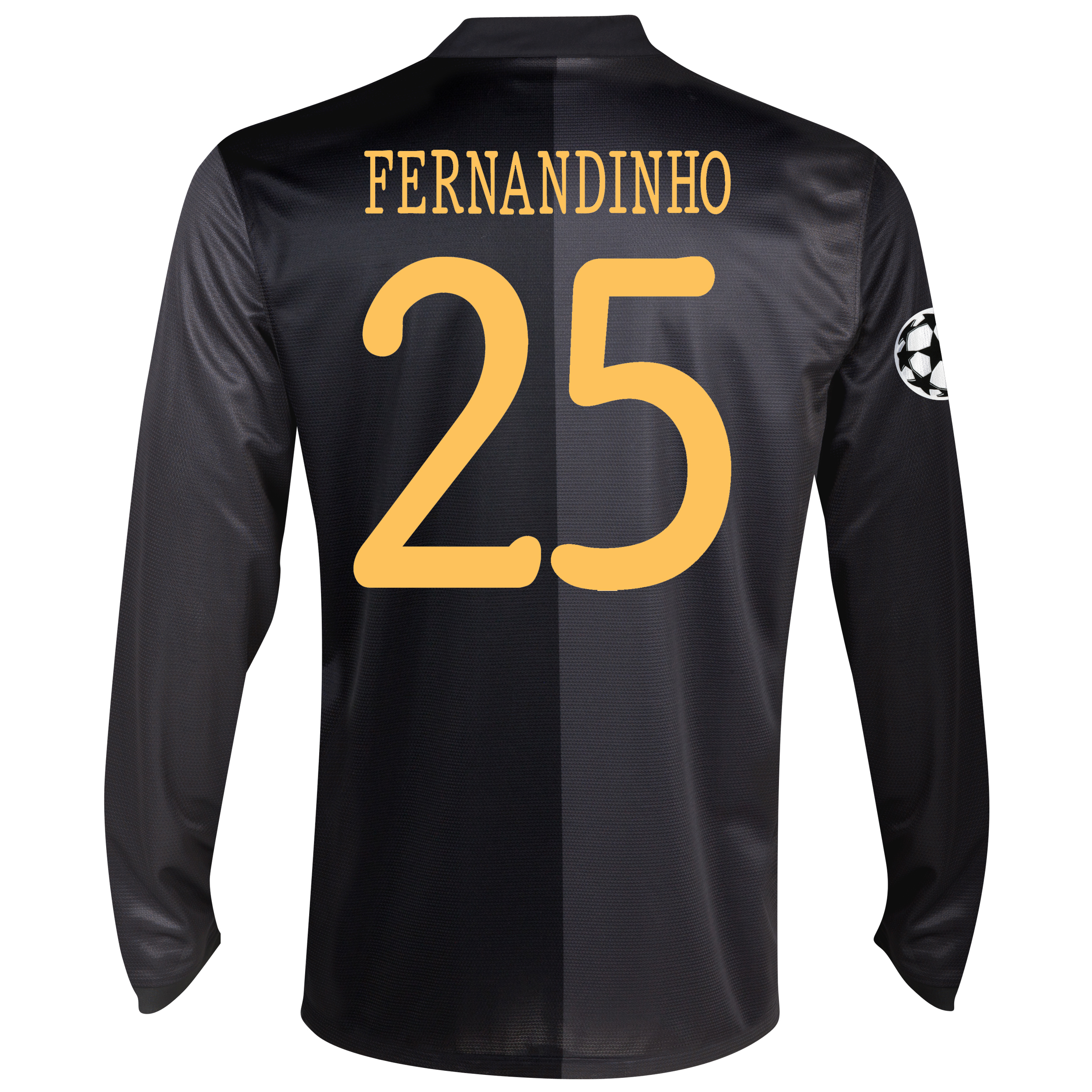 Manchester City UEFA Champions League Away Shirt 2013/14 - Long Sleeved with Fernandinho 25 printing
