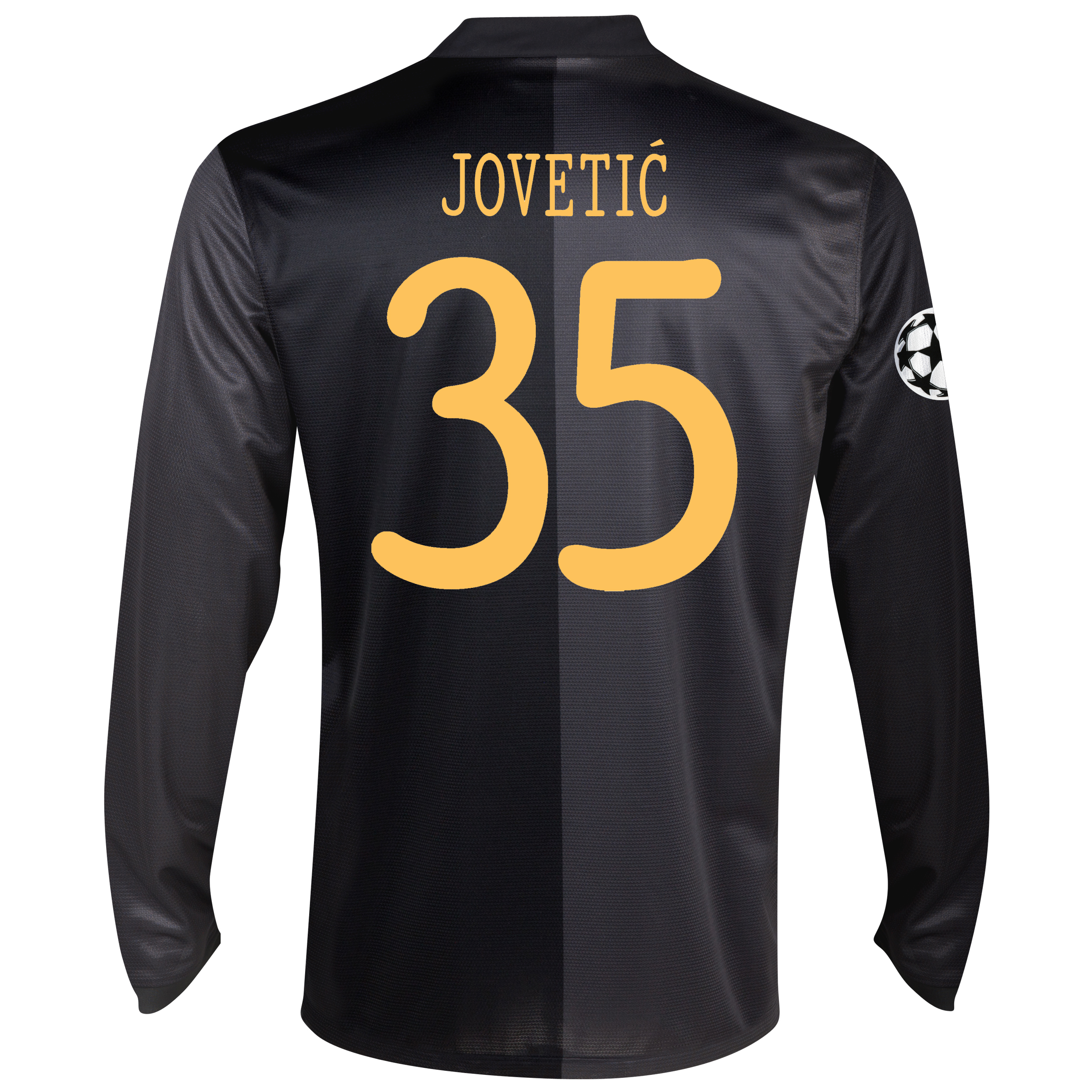 Manchester City UEFA Champions League Away Shirt 2013/14 - Long Sleeved with Jovetic 35 printing