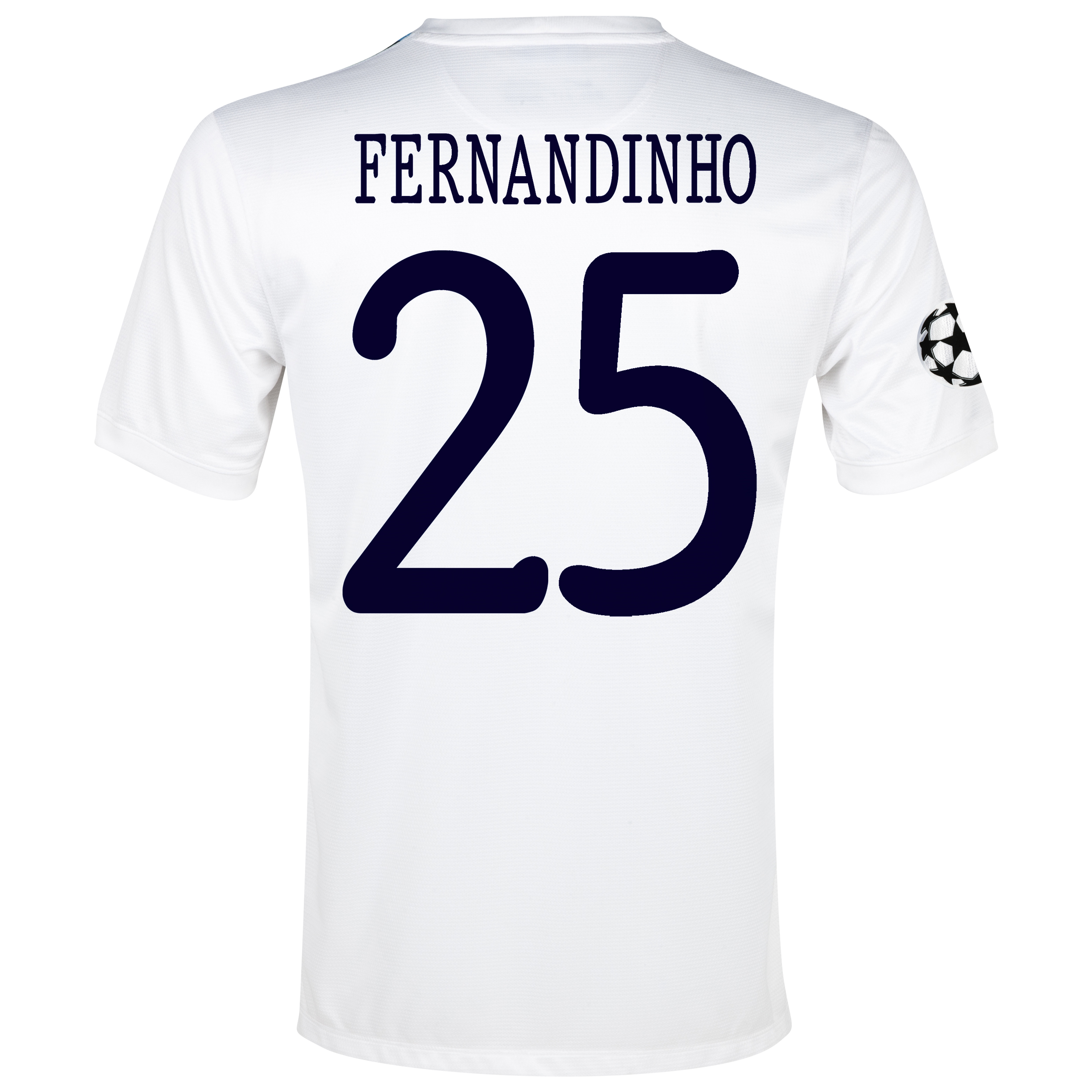 Manchester City UEFA Champions League Cup Away Shirt 2013/14 White with Fernandinho 25 printing