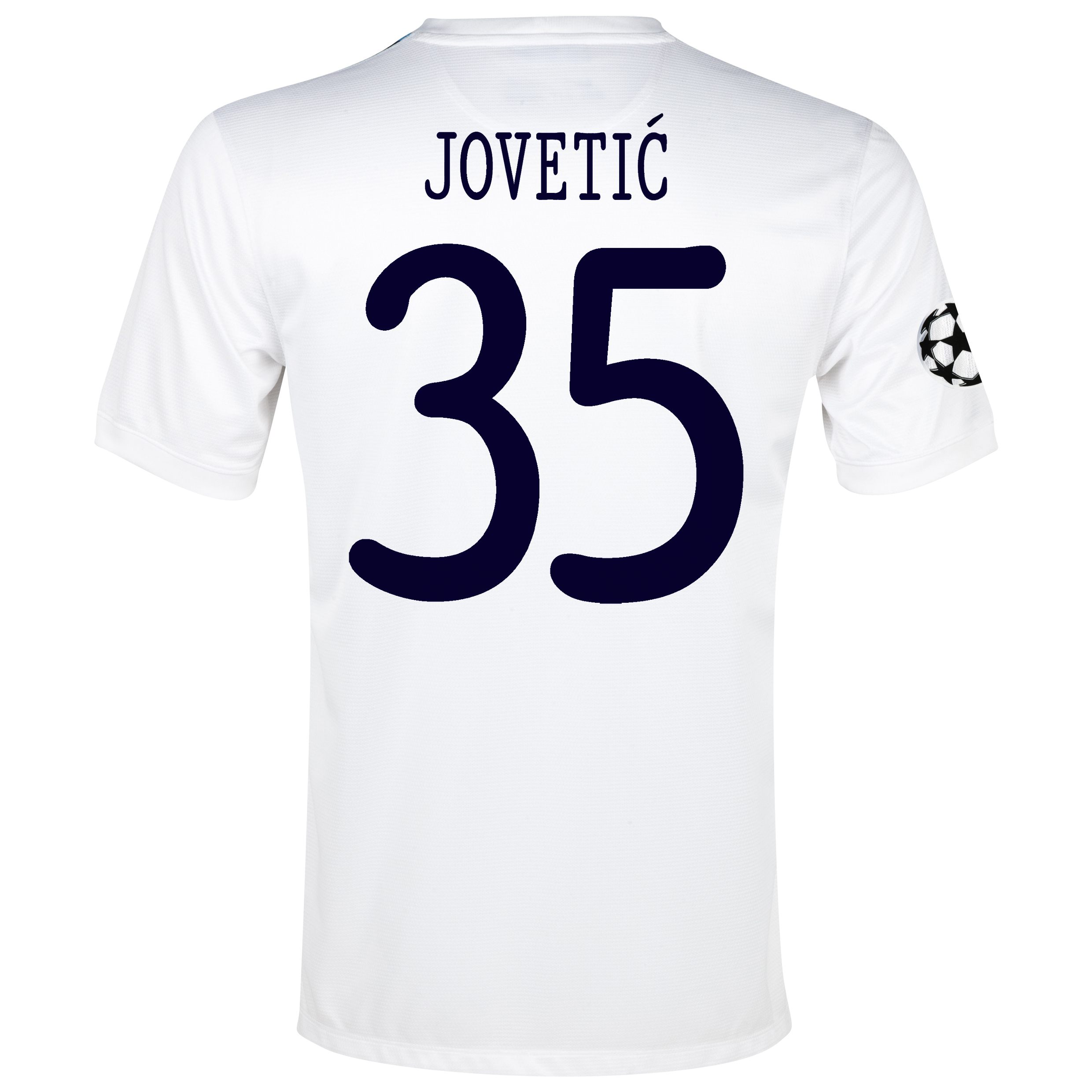 Manchester City UEFA Champions League Cup Away Shirt 2013/14 White with Jovetic 35 printing