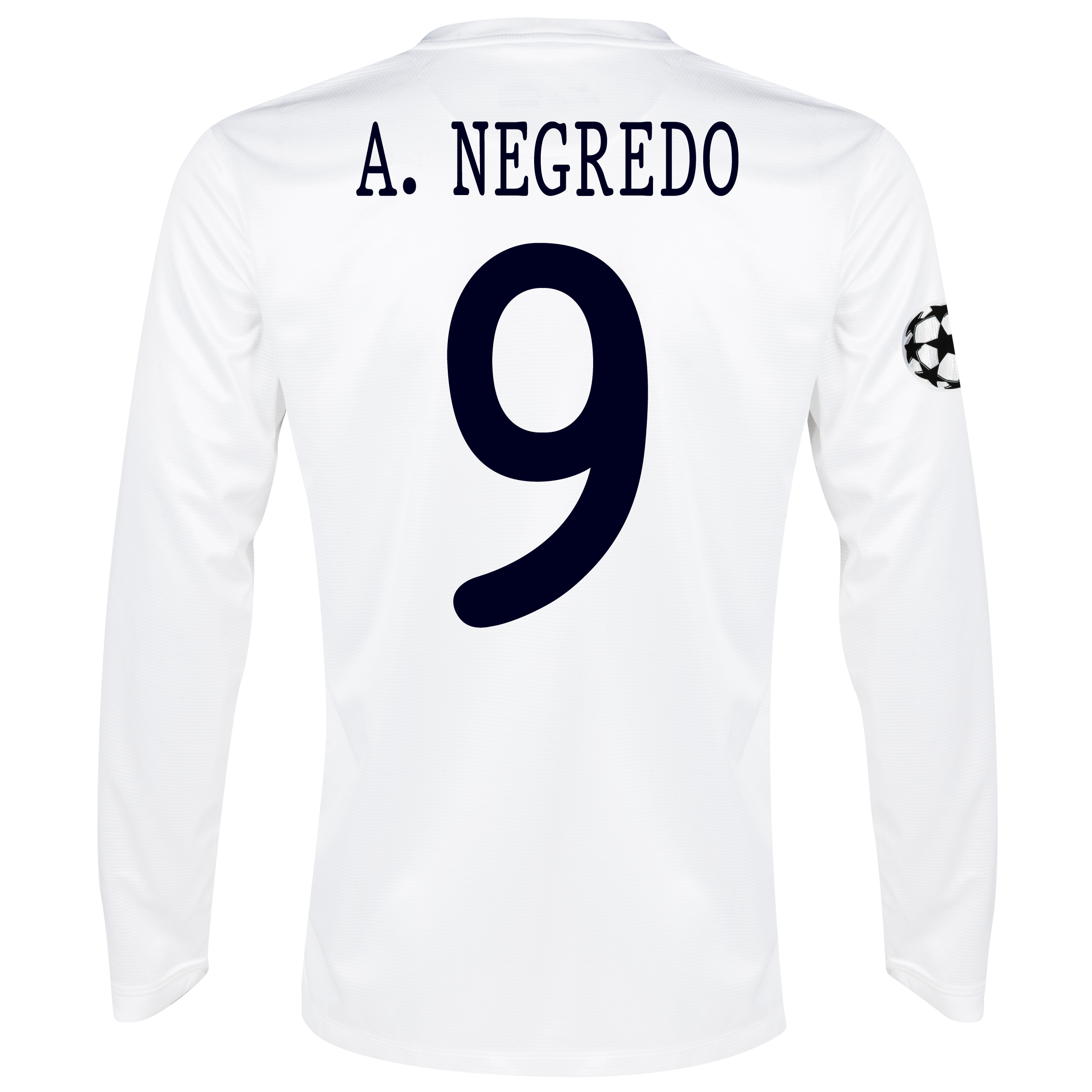Manchester City UEFA Champions League Cup Away Shirt 2013/14 - Long Sleeved White with A.Negredo 9 printing