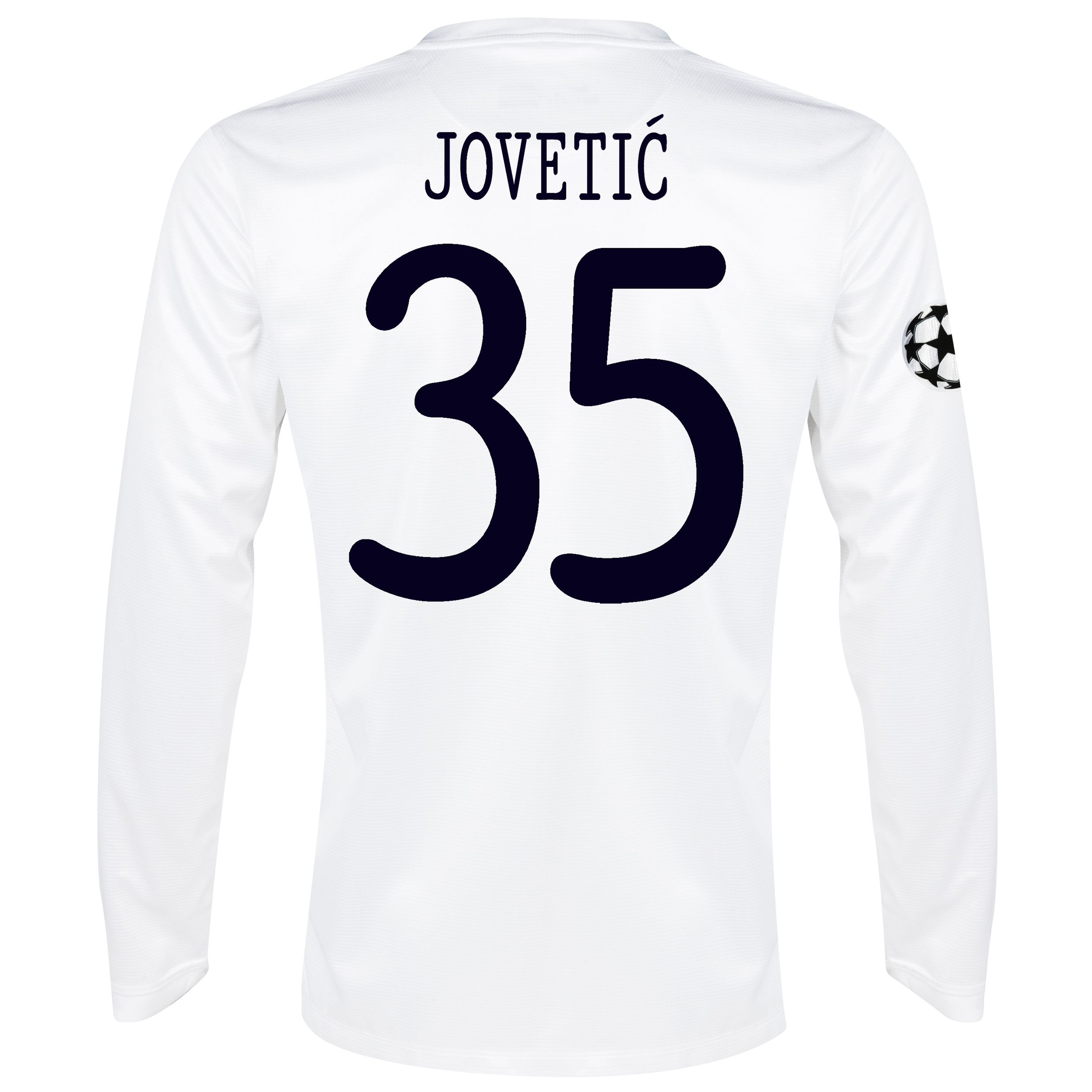 Manchester City UEFA Champions League Cup Away Shirt 2013/14 - Long Sleeved White with Jovetic 35 printing