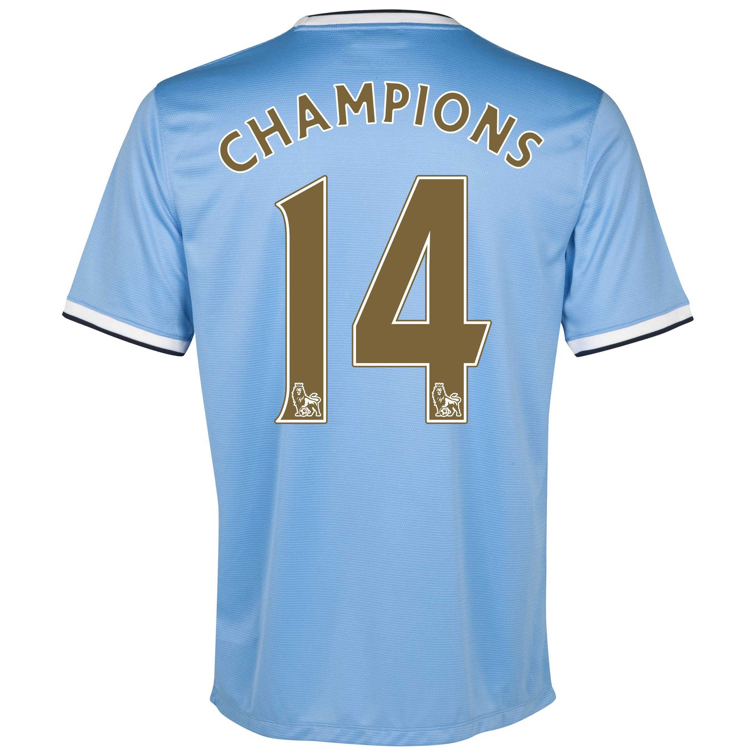Manchester City Home Shirt 2013/14 with Champions 14 printing