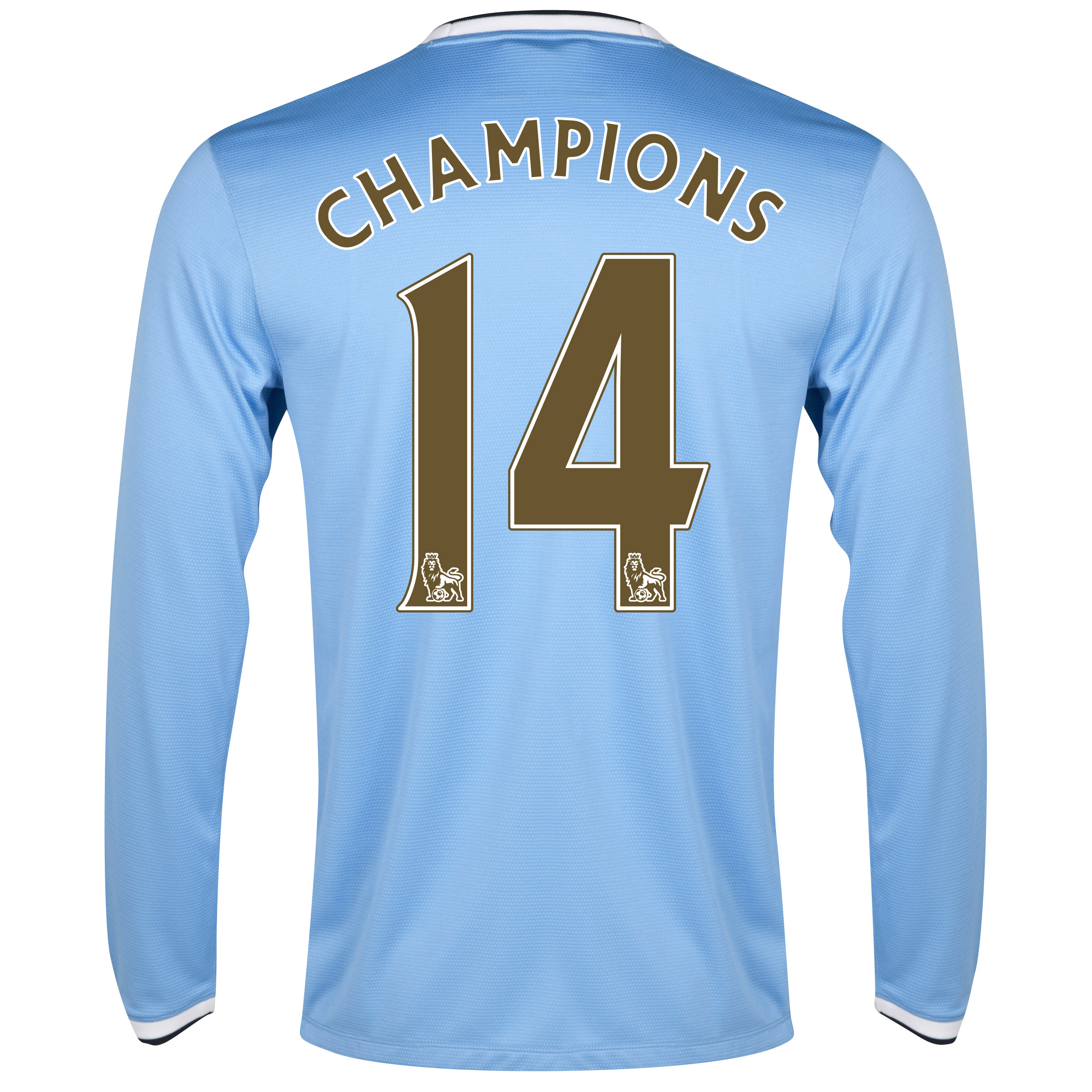 Manchester City Home Shirt 2013/14 - Long Sleeved with Champions 14 printing