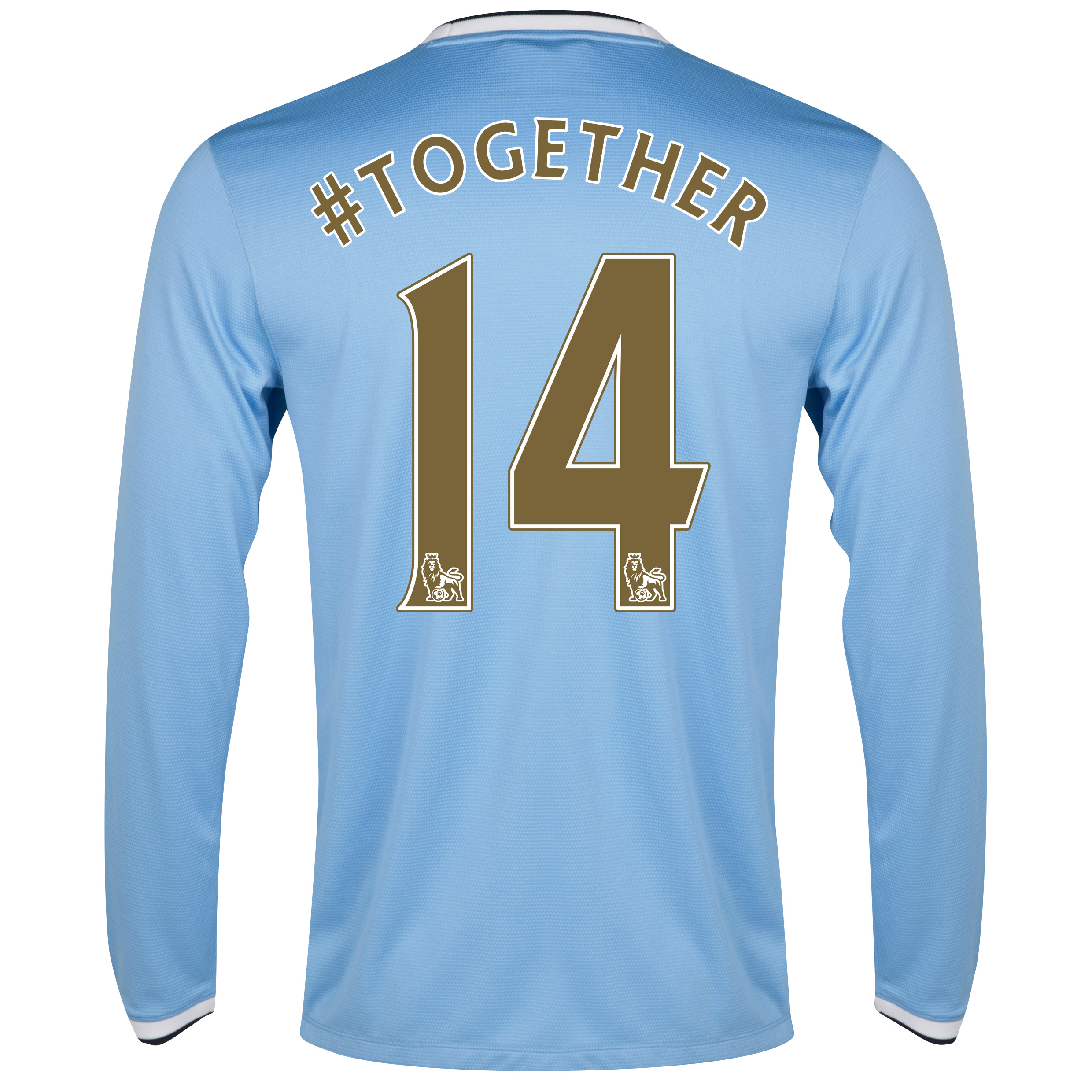 Manchester City Home Shirt 2013/14 - Long Sleeved with #together 14 printing