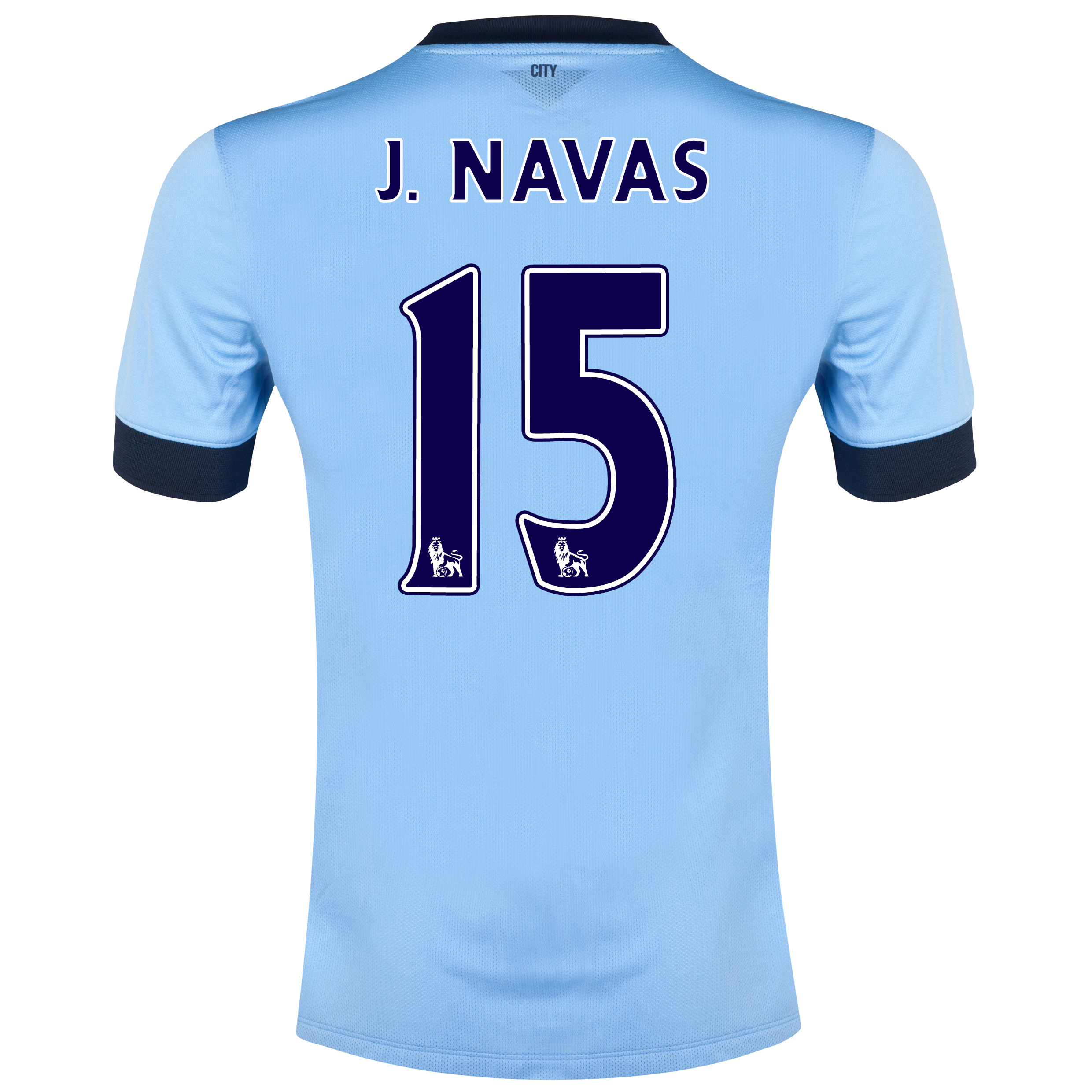 Manchester City Home Shirt 2014/15 Sky Blue with J.Navas 15 printing