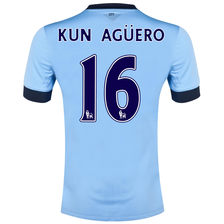 Manchester City Home Shirt 2014/15 Sky Blue with Kun Agüero  16 printing