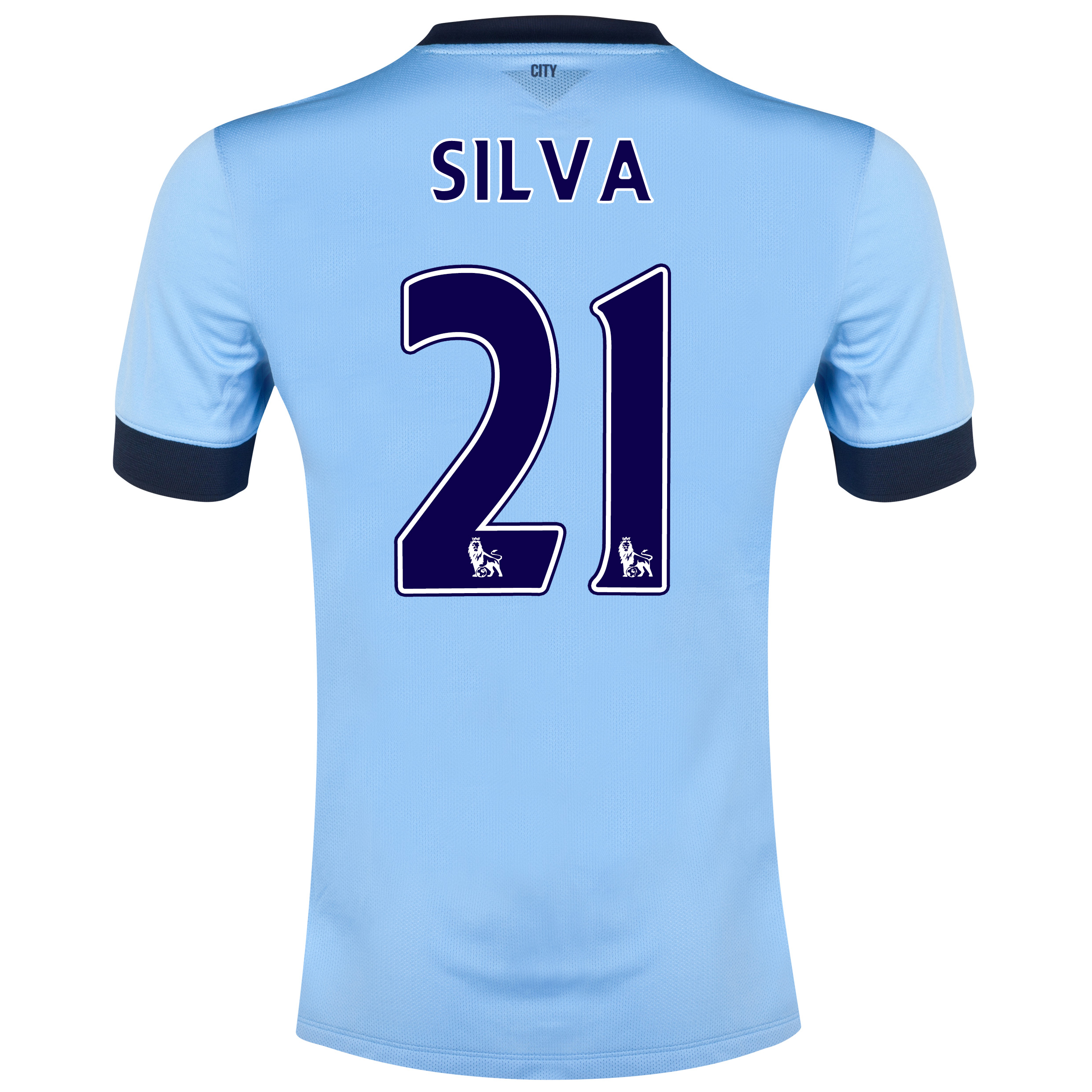 Manchester City Home Shirt 2014/15 Sky Blue with Silva 21 printing