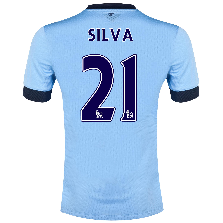 Manchester City Home Shirt 2014/15 Sky Blue with Silva 21 printing