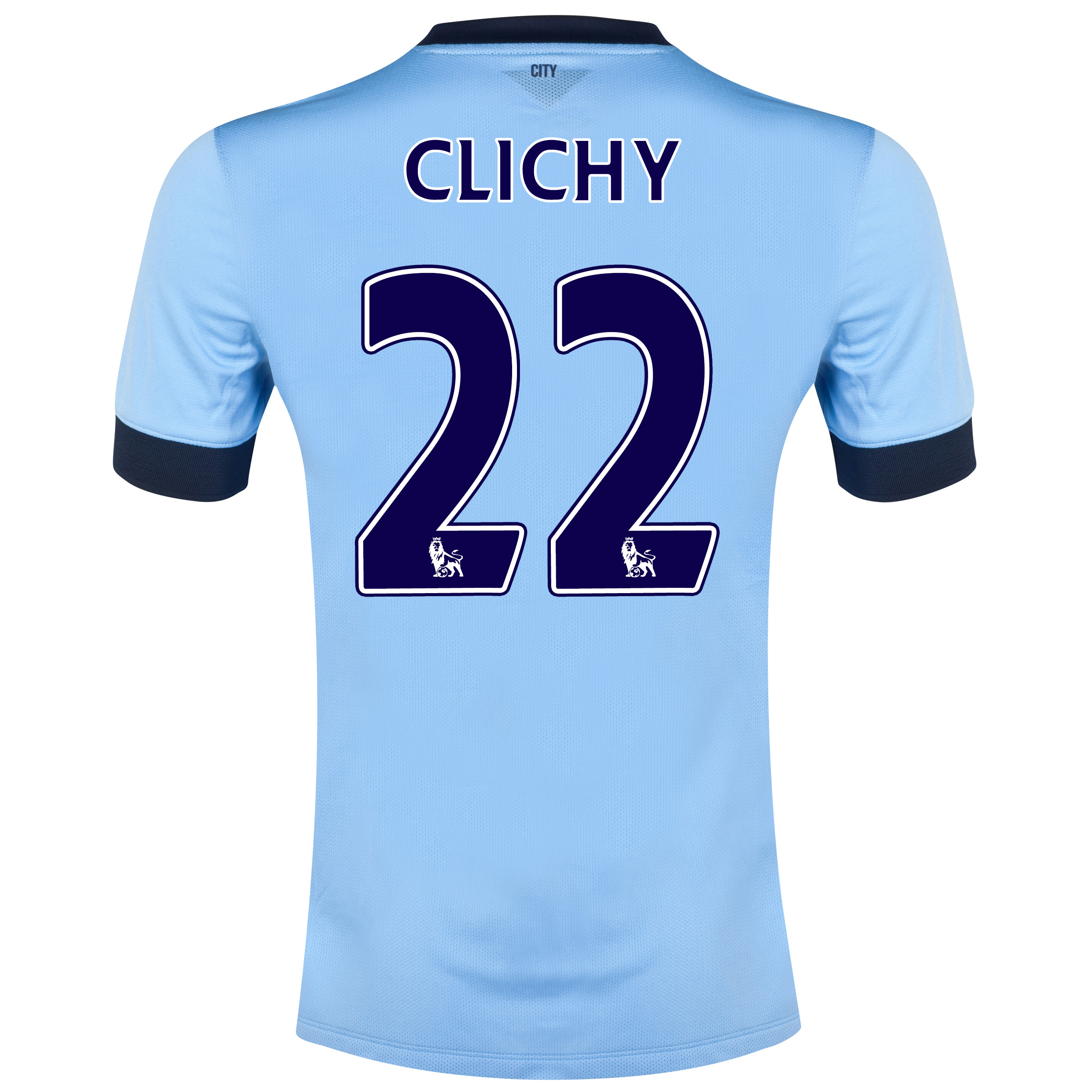 Manchester City Home Shirt 2014/15 Sky Blue with Clichy 22 printing