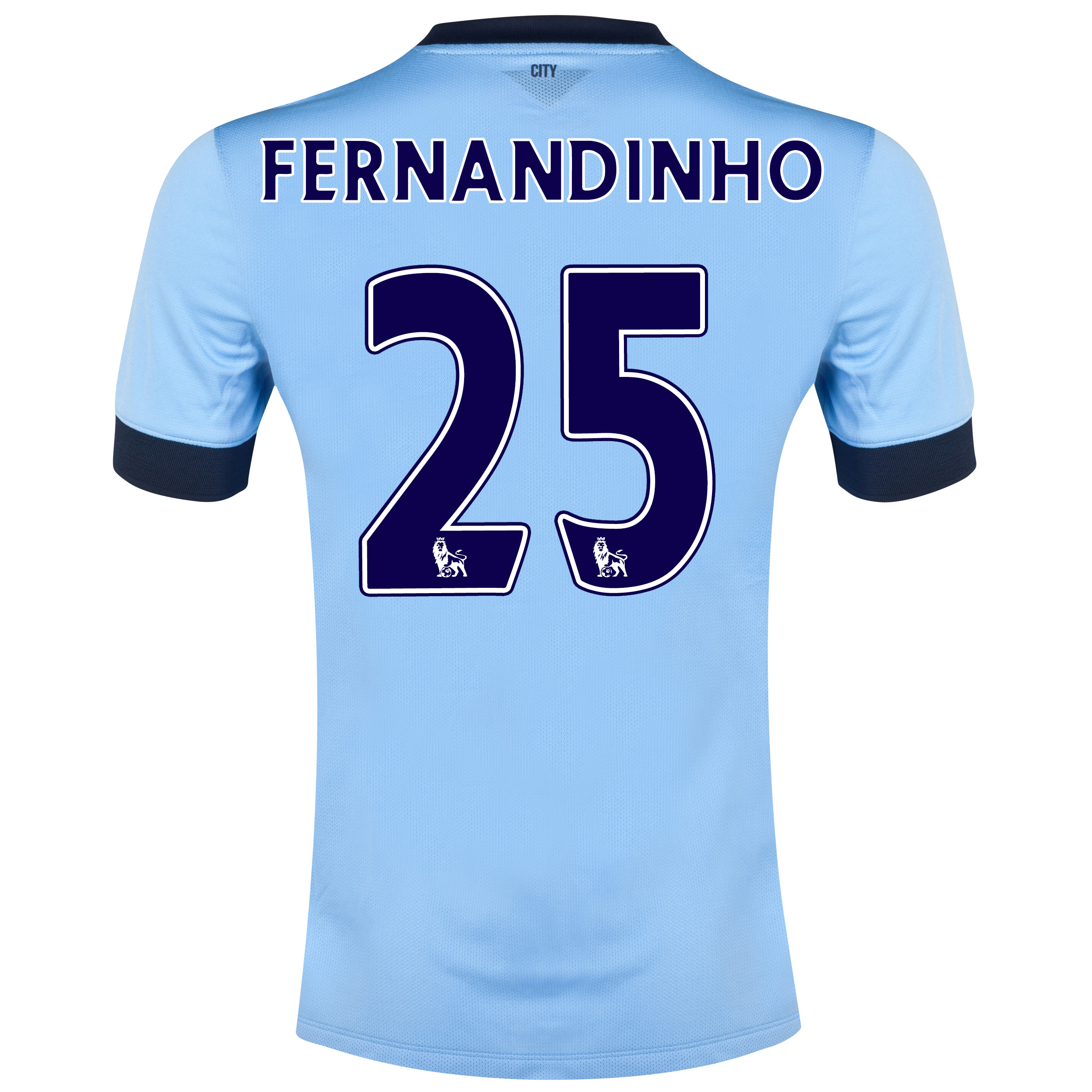 Manchester City Home Shirt 2014/15 Sky Blue with Fernandinho 25 printing