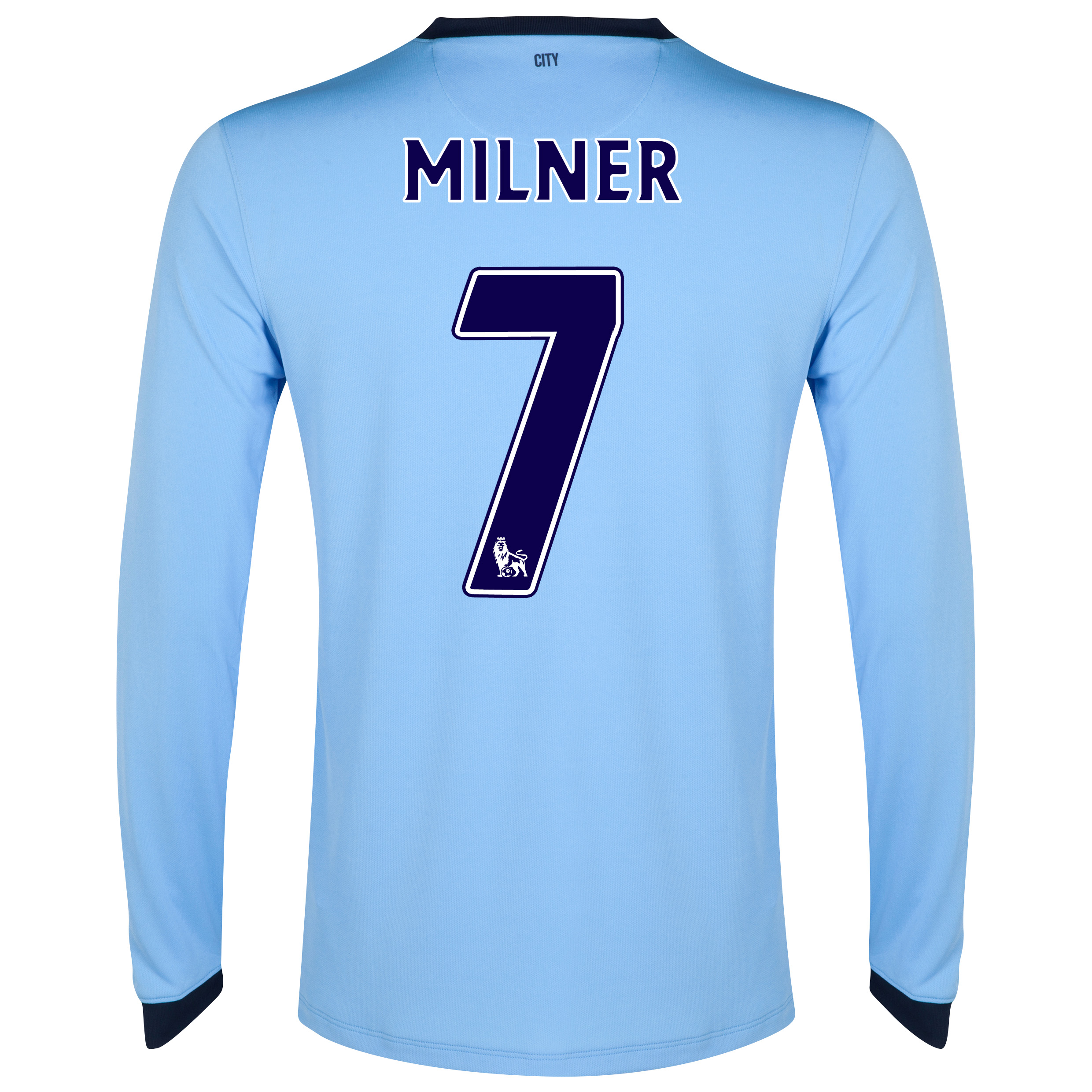 Manchester City Home Shirt 2014/15 - Long Sleeve Sky Blue with Milner 7 printing