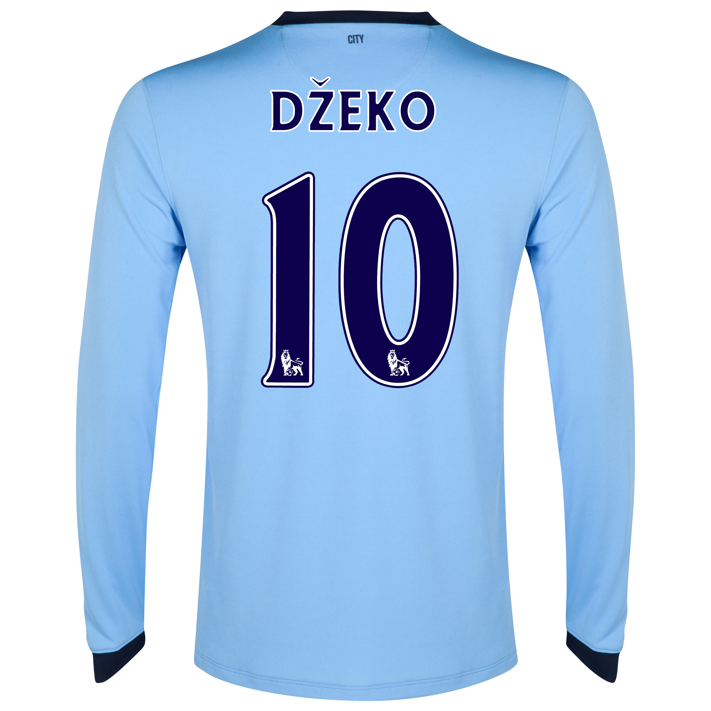 Manchester City Home Shirt 2014/15 - Long Sleeve Sky Blue with Dzeko 10 printing
