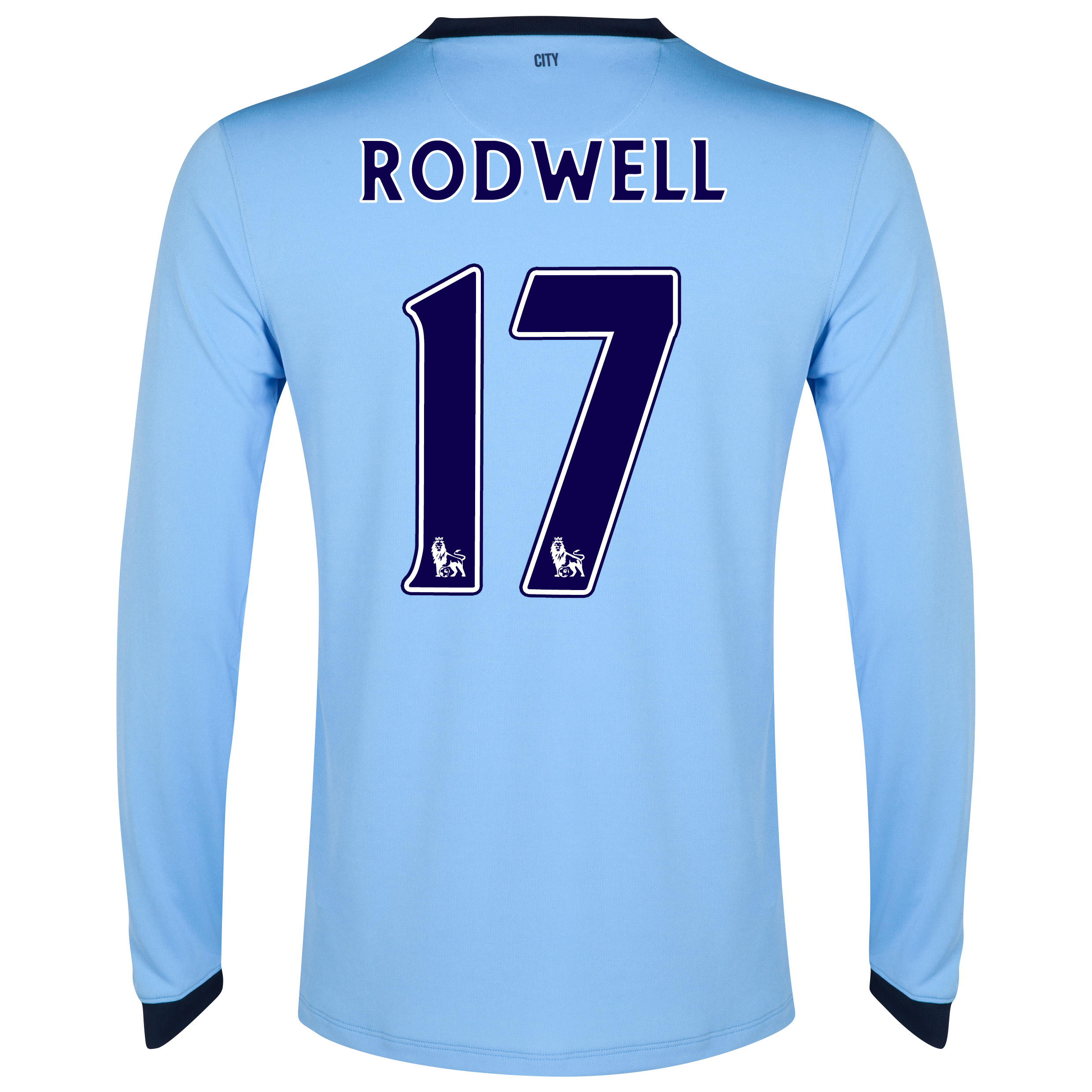 Manchester City Home Shirt 2014/15 - Long Sleeve Sky Blue with Rodwell 17 printing