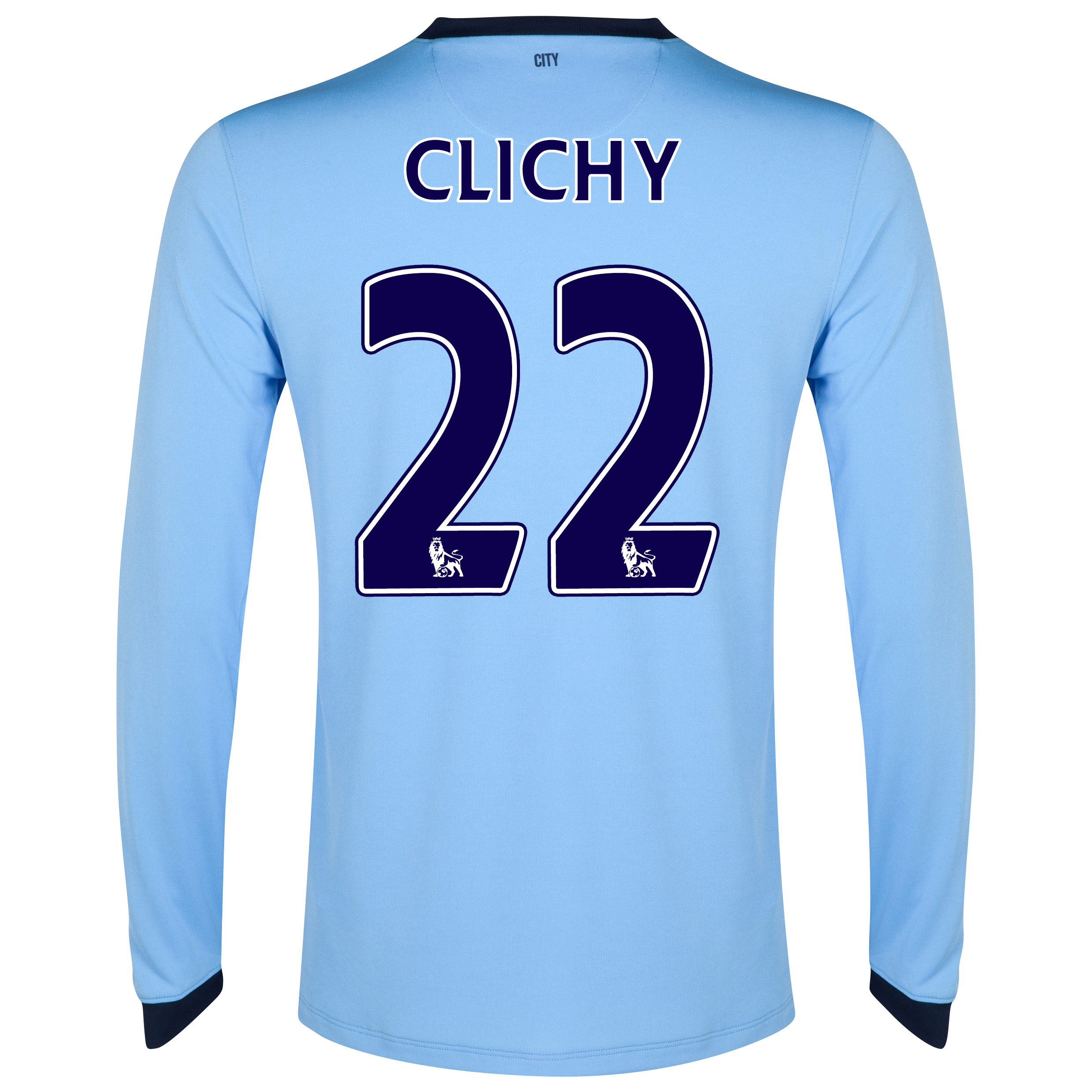 Manchester City Home Shirt 2014/15 - Long Sleeve Sky Blue with Clichy 22 printing