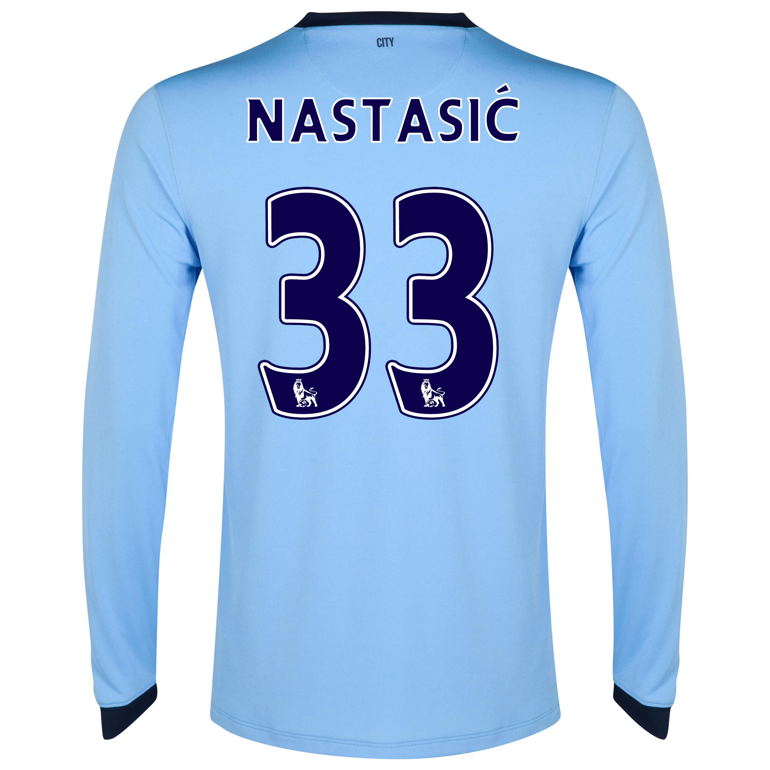Manchester City Home Shirt 2014/15 - Long Sleeve Sky Blue with Nastasic 33 printing