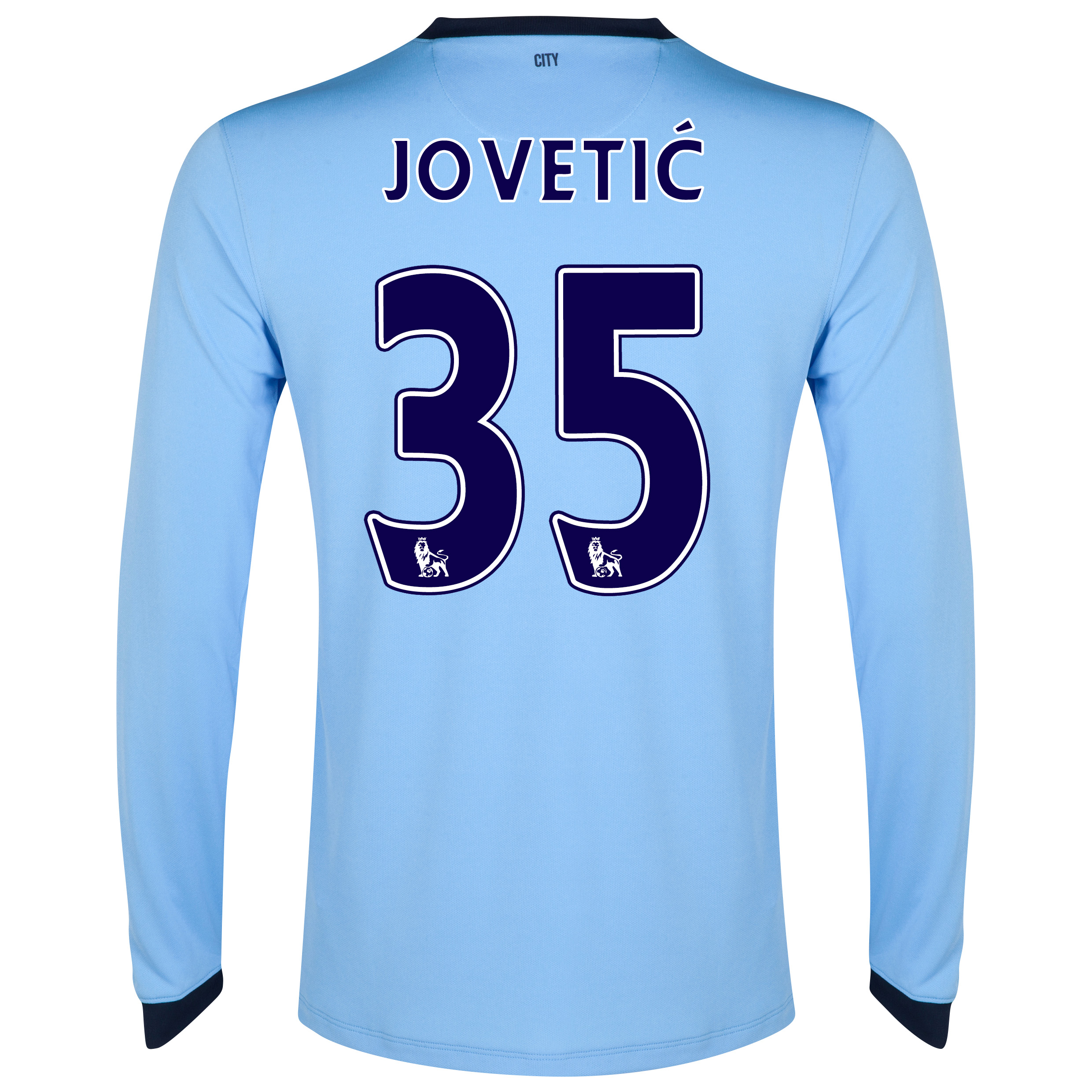 Manchester City Home Shirt 2014/15 - Long Sleeve Sky Blue with Jovetic 35 printing