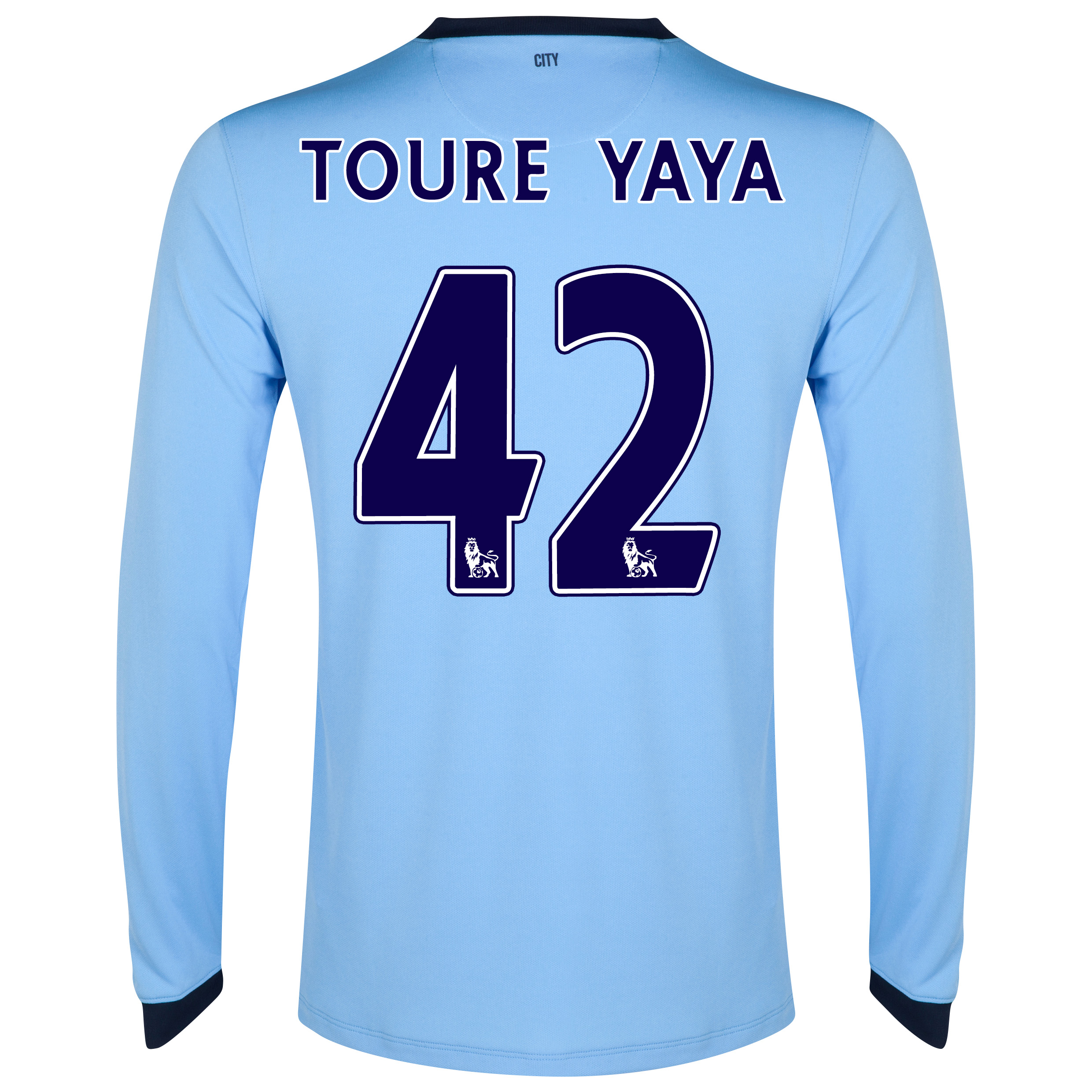 Manchester City Home Shirt 2014/15 - Long Sleeve Sky Blue with Toure Yaya 42 printing