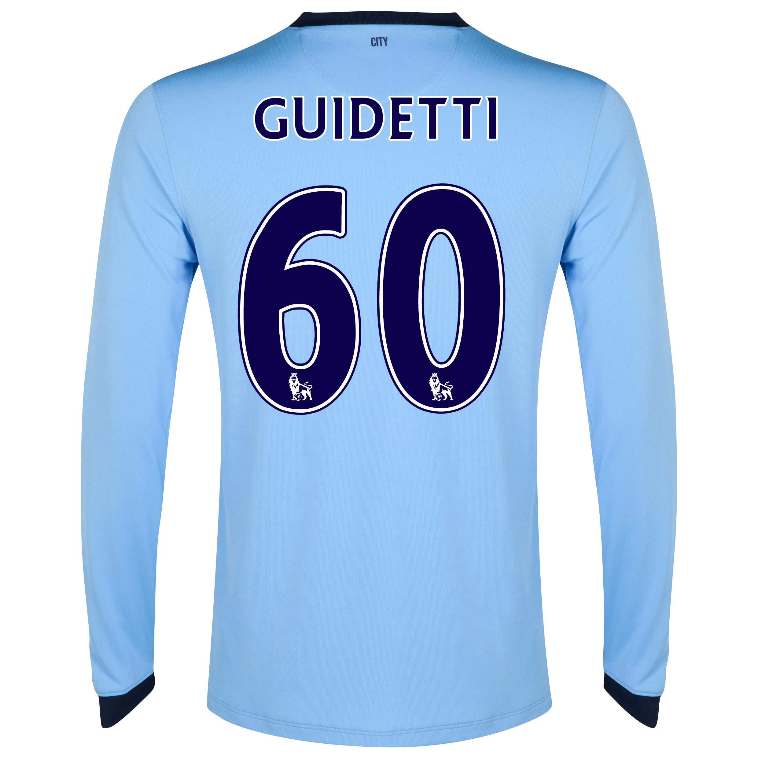 Manchester City Home Shirt 2014/15 - Long Sleeve Sky Blue with Guidetti 60 printing