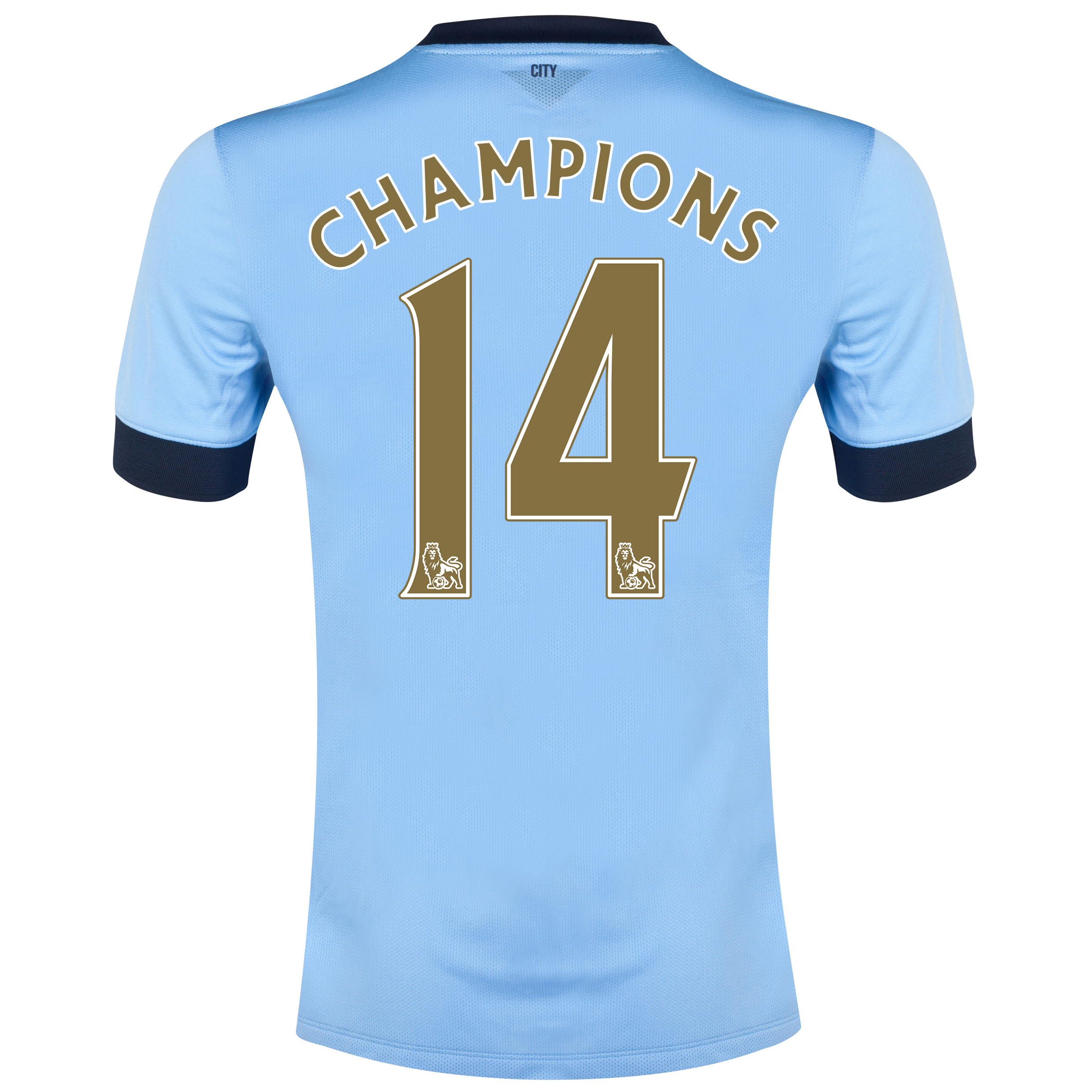 Manchester City Home Shirt 2014/15 - Kids Sky Blue with Gold Champions 14 printing