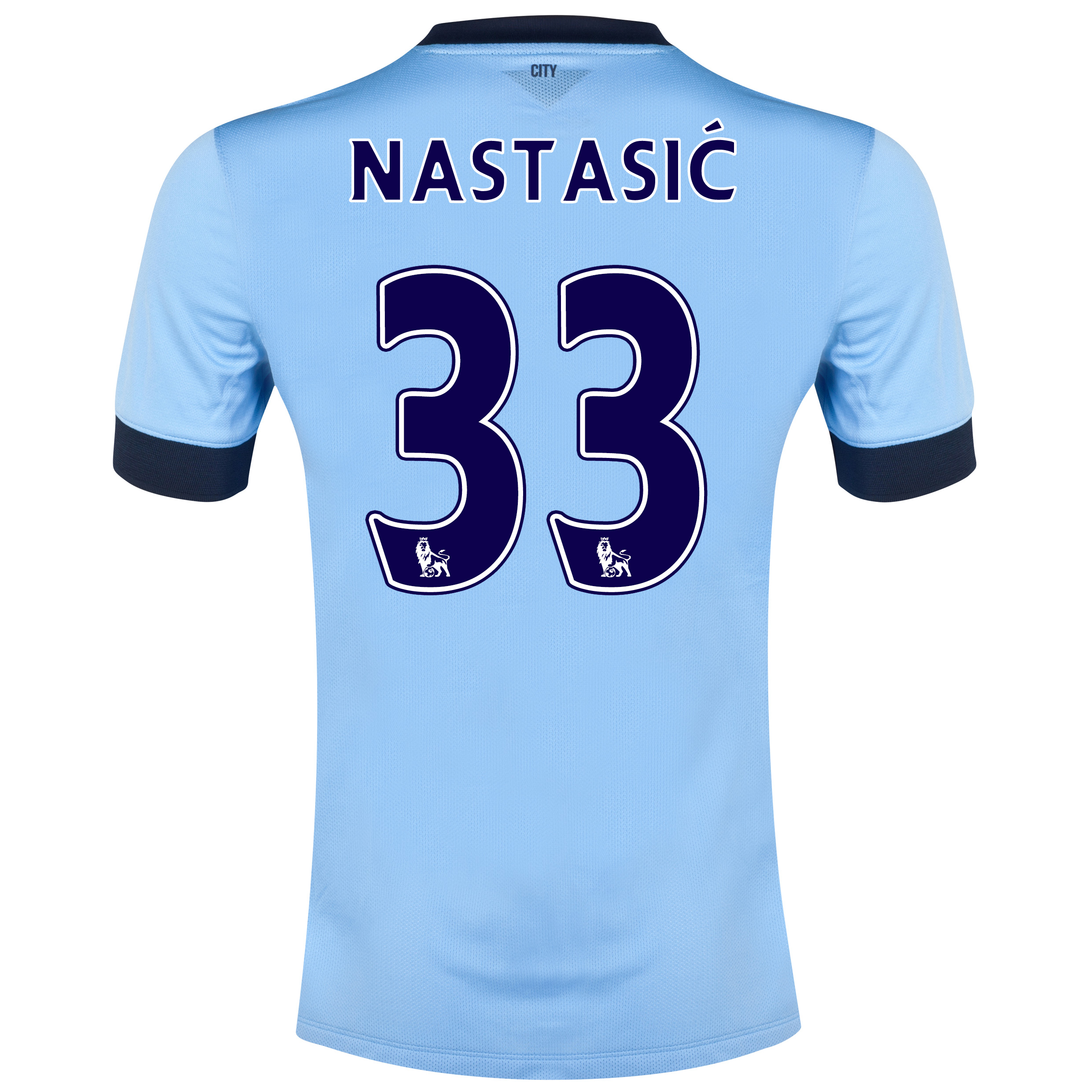 Manchester City Home Shirt 2014/15 - Kids Sky Blue with Nastasic 33 printing