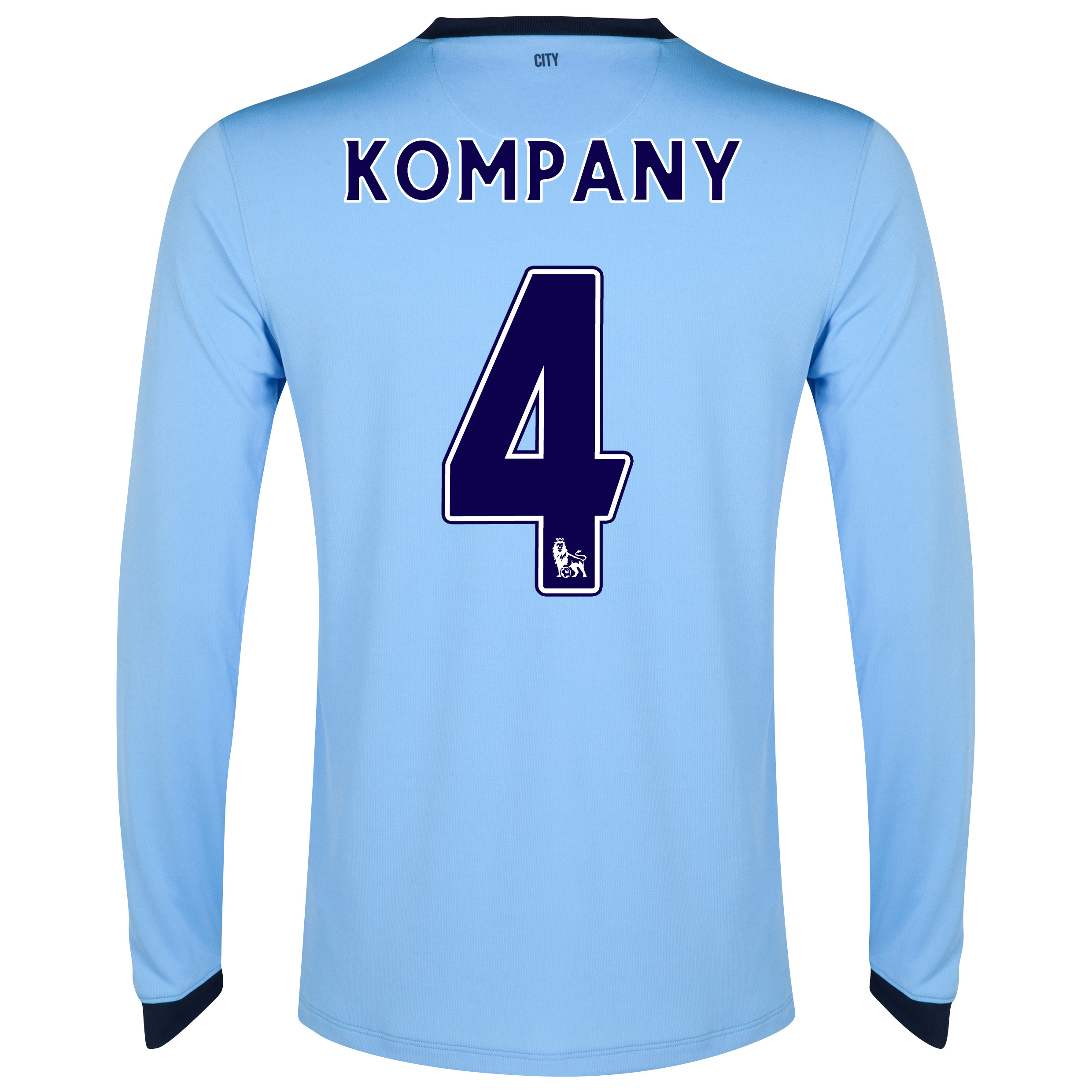 Manchester City Home Shirt 2014/15 - Long Sleeve - Kids Sky Blue with Kompany 4 printing