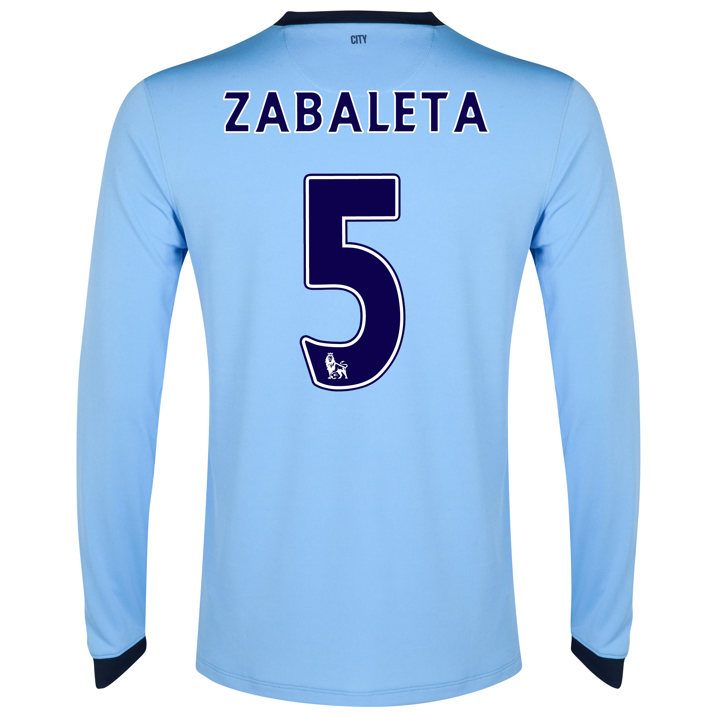 Manchester City Home Shirt 2014/15 - Long Sleeve - Kids Sky Blue with Zabaleta 5 printing