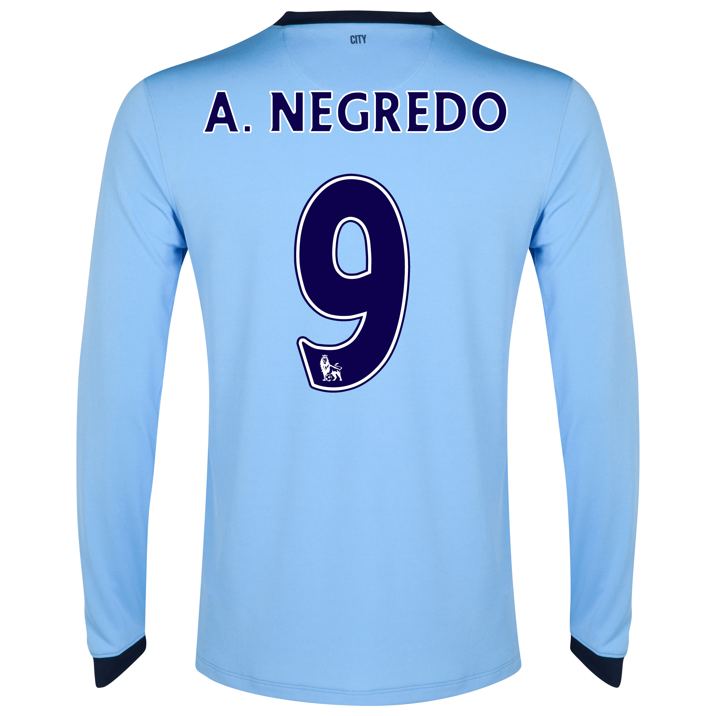 Manchester City Home Shirt 2014/15 - Long Sleeve - Kids Sky Blue with A.Negredo 9 printing