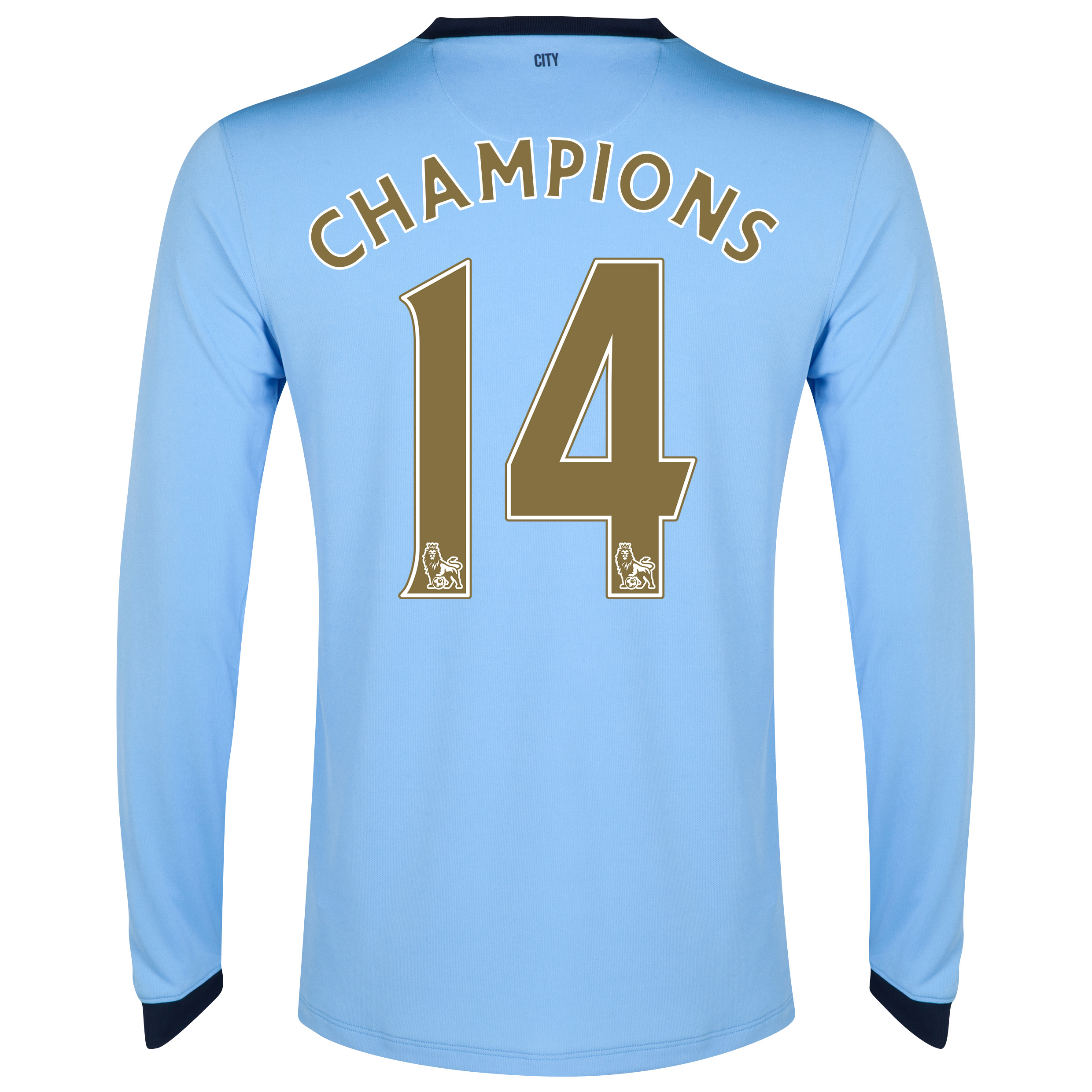 Manchester City Home Shirt 2014/15 - Long Sleeve - Kids Sky Blue with Gold Champions 14 printing