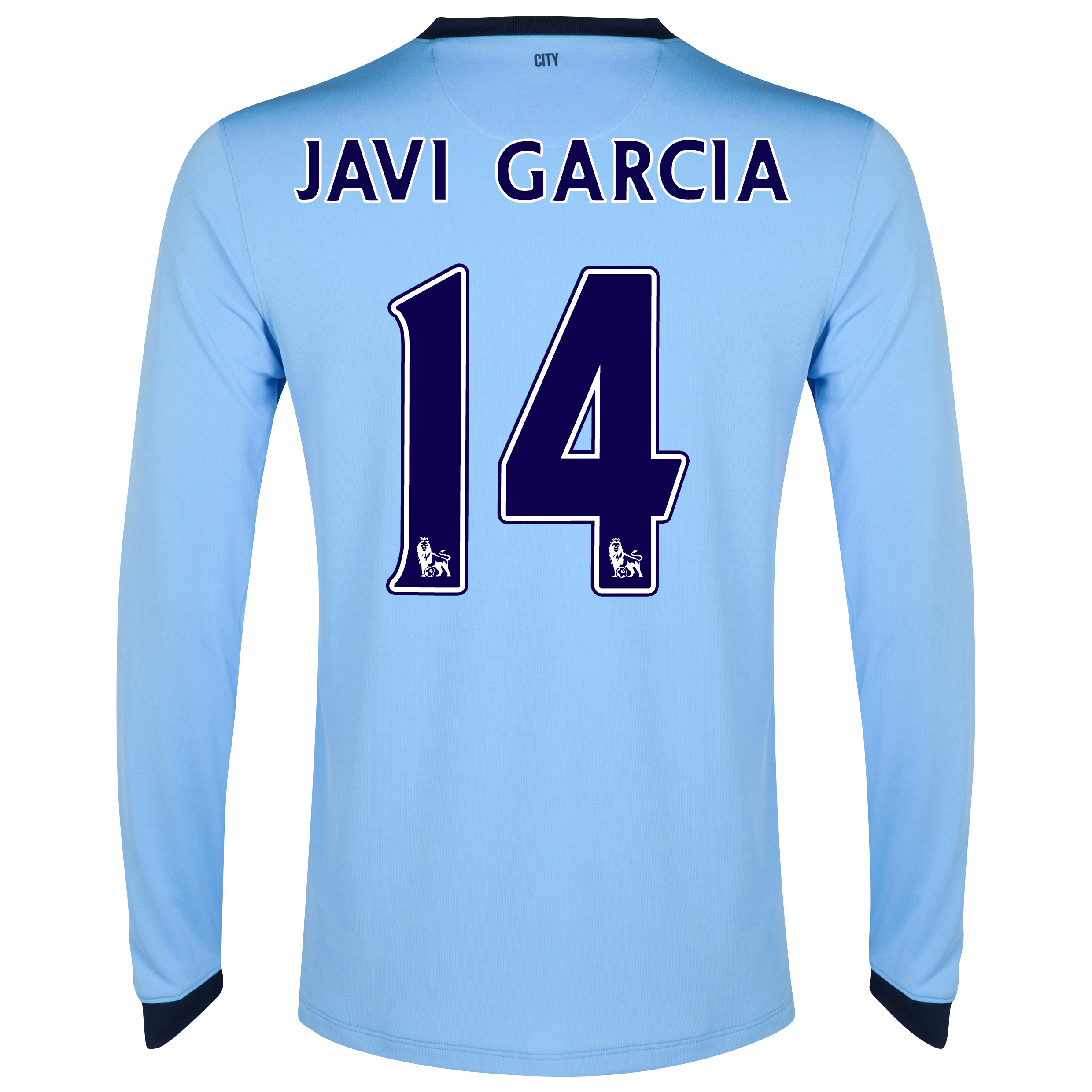 Manchester City Home Shirt 2014/15 - Long Sleeve - Kids Sky Blue with Javi Garcia 14 printing