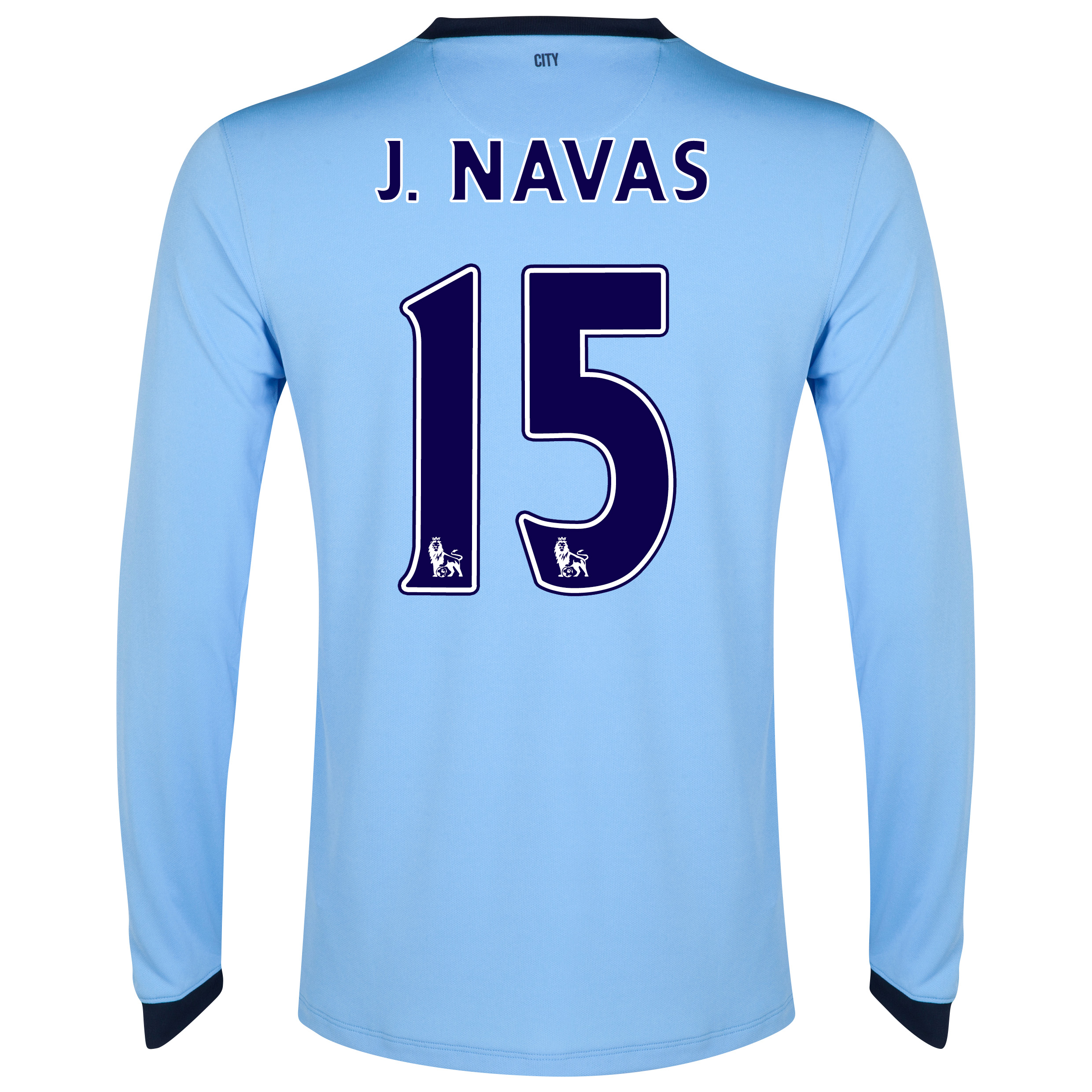 Manchester City Home Shirt 2014/15 - Long Sleeve - Kids Sky Blue with J.Navas 15 printing