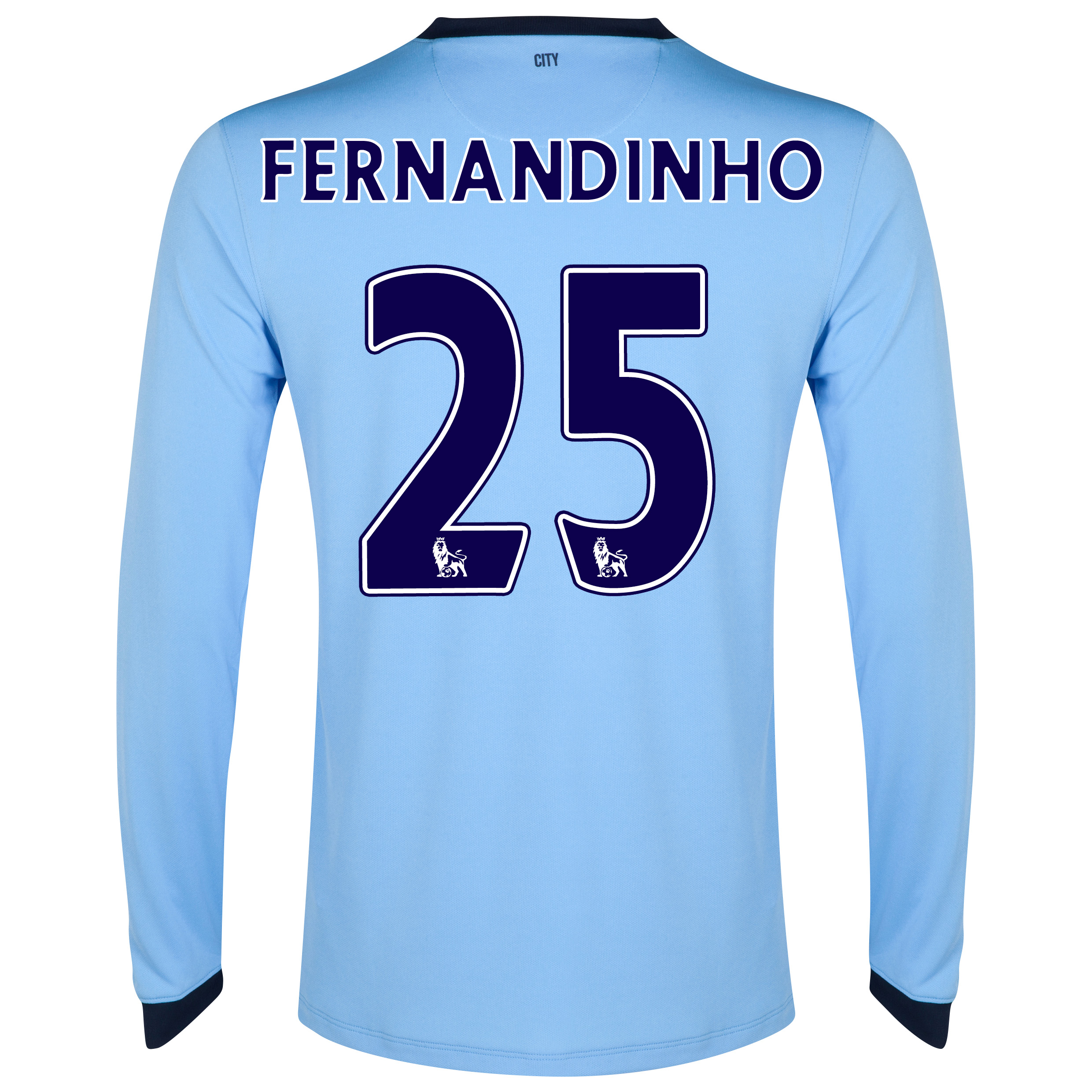 Manchester City Home Shirt 2014/15 - Long Sleeve - Kids Sky Blue with Fernandinho 25 printing