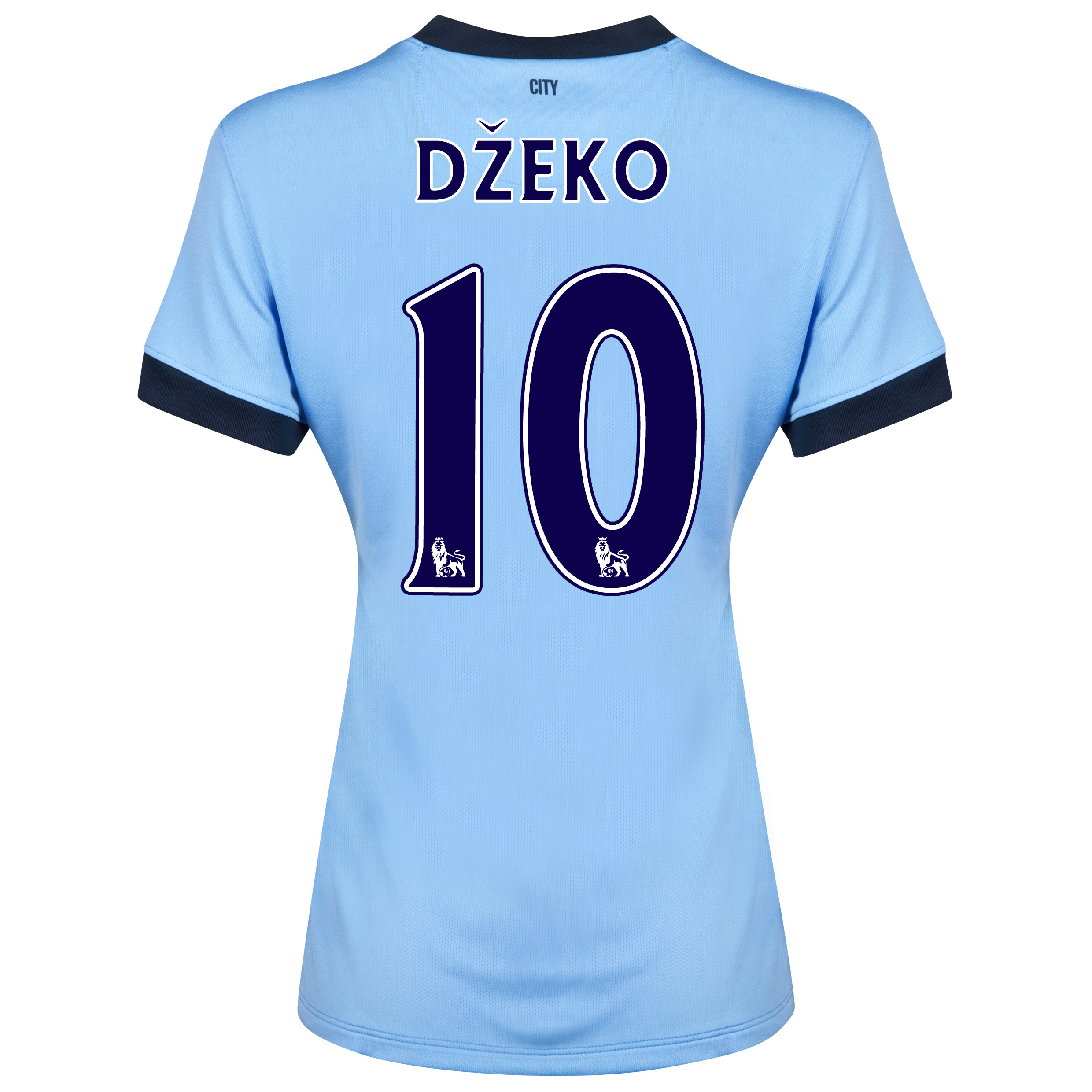 Manchester City Home Shirt 2014/15 - Womens Sky Blue with Dzeko 10 printing